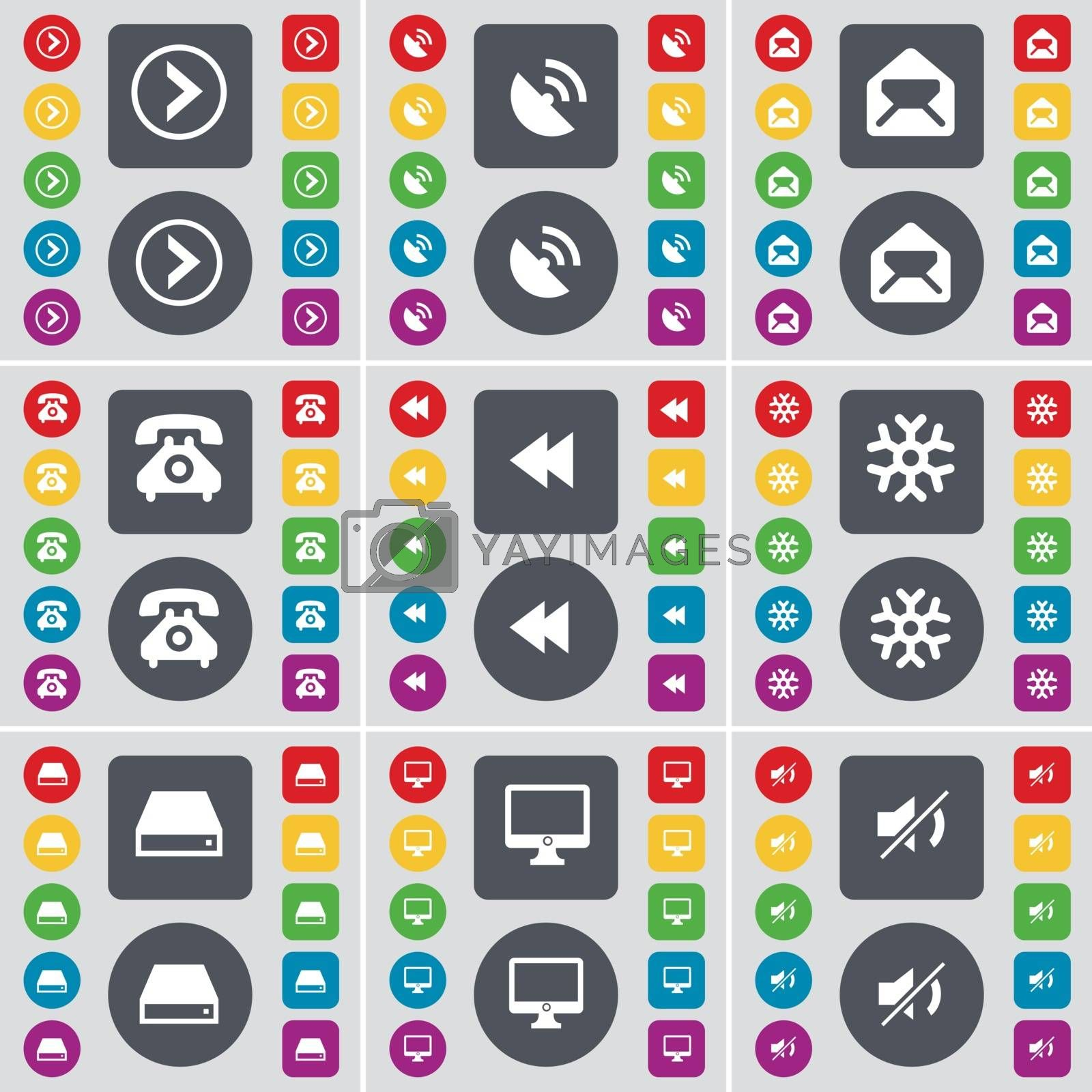 Royalty free image of Arrow right, Satellite dish, Message, Retro phone, Rewind, Snowflake, Hard drive, Monitor, Mute icon symbol. A large set of flat, colored buttons for your design. Vector by serhii_lohvyniuk