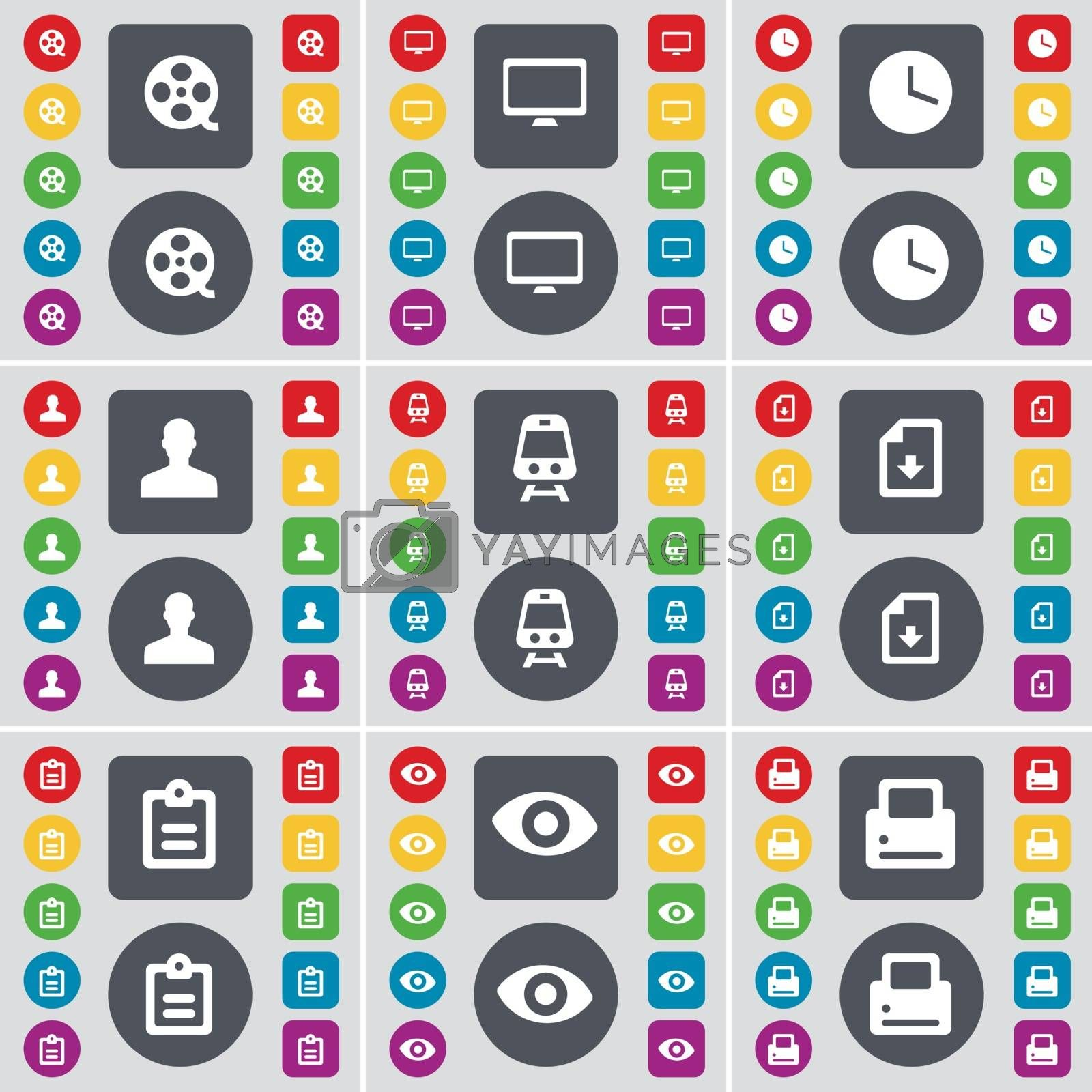 Royalty free image of Videotape, Monitor, Clock, Avatar, Train, File, Survey, Vision, Printer icon symbol. A large set of flat, colored buttons for your design. Vector by serhii_lohvyniuk