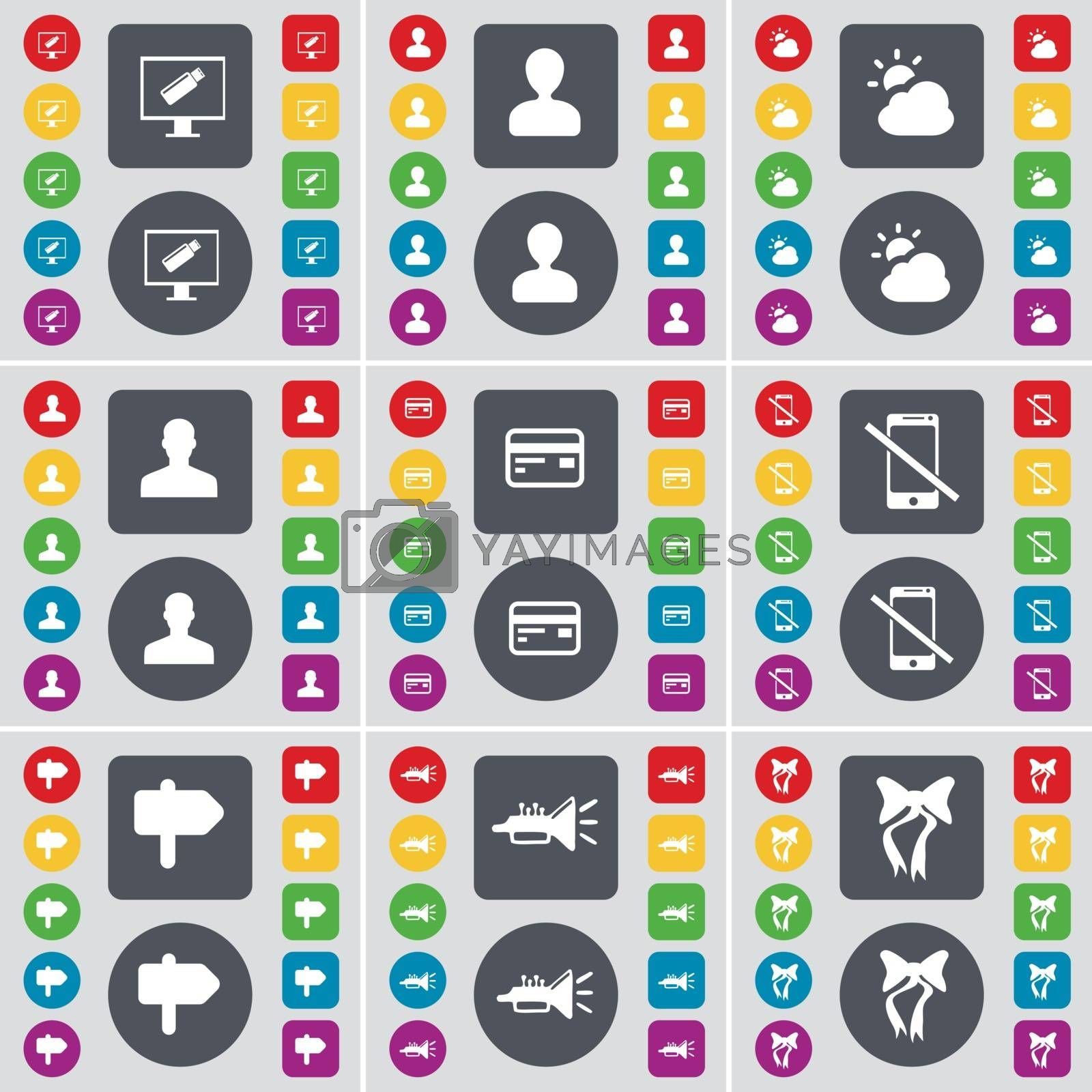 Royalty free image of Monitor, Avatar, Cloud, Silhouette, Credit card, Smartphone, Signpost, Trumped, Bow icon symbol. A large set of flat, colored buttons for your design. Vector by serhii_lohvyniuk