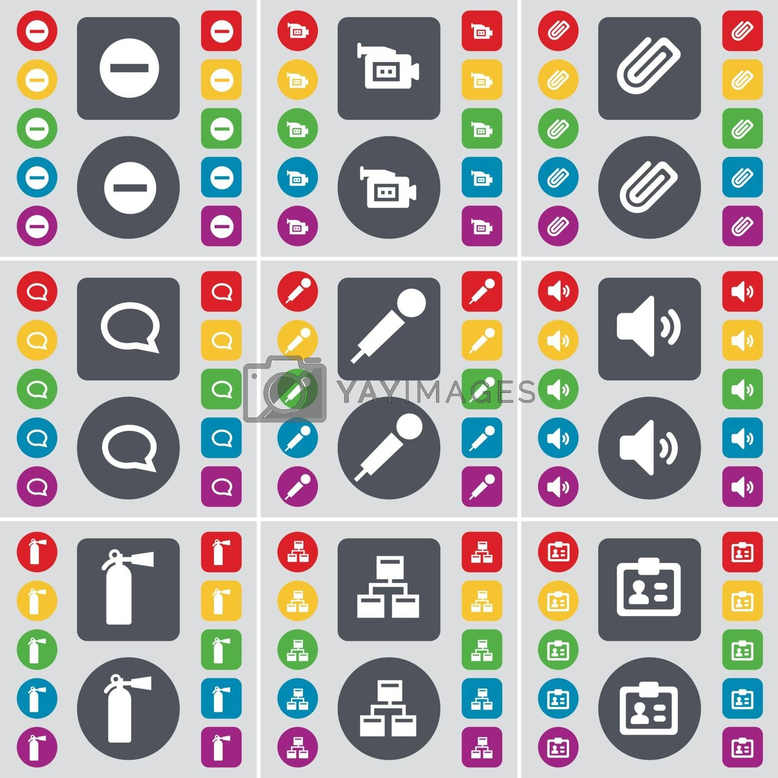 Royalty free image of Minus, Film camera, Clip, Chat bubble, Microphone, Sound, Fire extinguisher, Network, Contact icon symbol. A large set of flat, colored buttons for your design. Vector by serhii_lohvyniuk