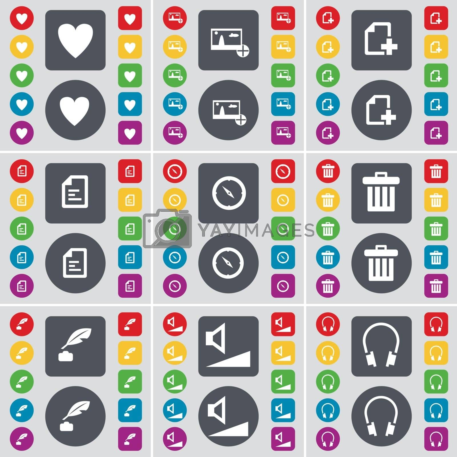 Royalty free image of Heart, Picture, File, Text file, Compass, Trash can, Ink pot, Volume, Headphones icon symbol. A large set of flat, colored buttons for your design. Vector by serhii_lohvyniuk