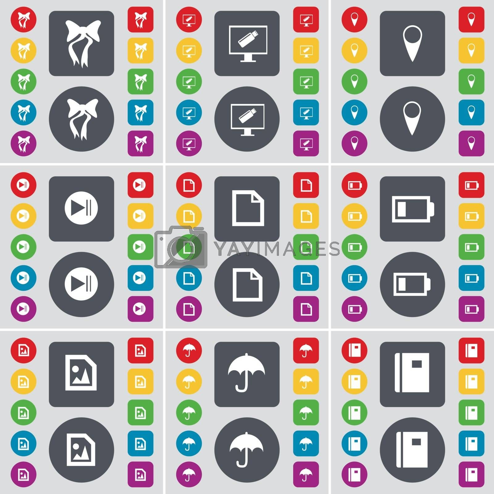 Royalty free image of Bow, Monitor, Checkpoint, Media skip, File, Battery, Media file, Umbrella, Notebook icon symbol. A large set of flat, colored buttons for your design. Vector by serhii_lohvyniuk