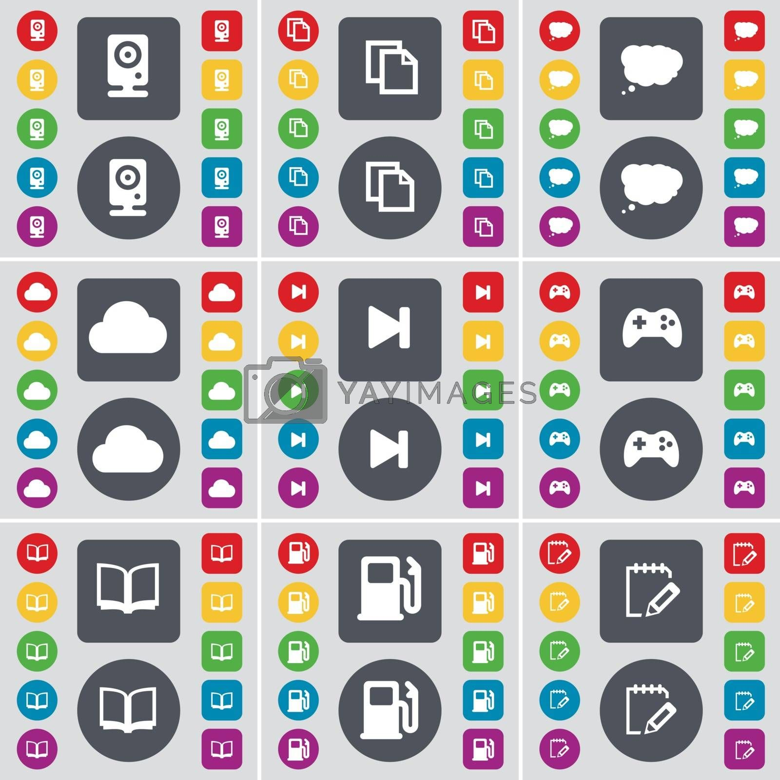Speaker, Copy, Chat cloud, Cloud, Media skip, Gamepad, Book, Gas station, Notebook icon symbol. A large set of flat, colored buttons for your design. Vector by serhii_lohvyniuk