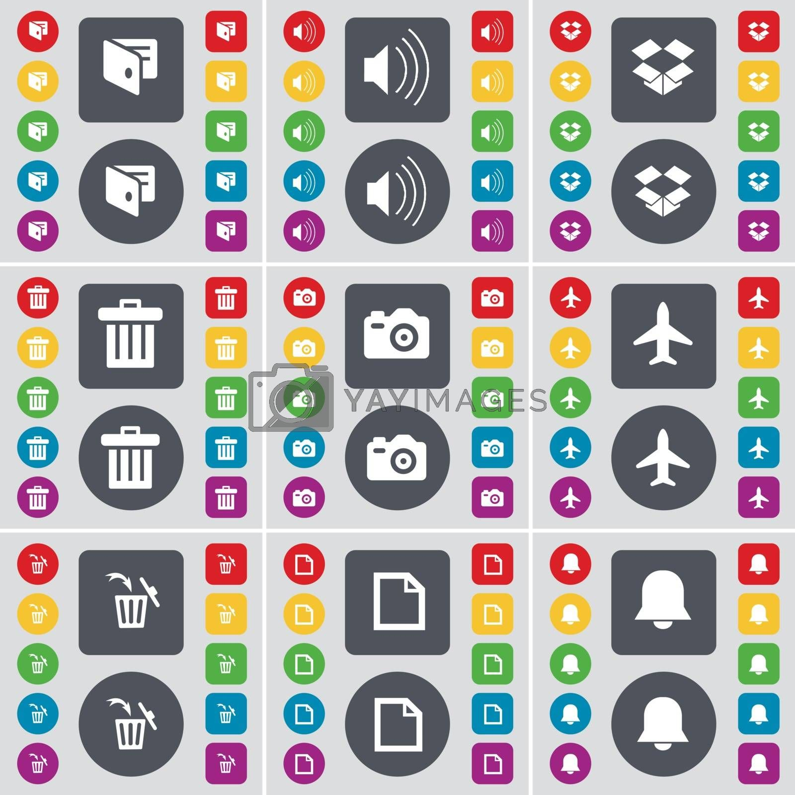 Royalty free image of Wallet, Sound, Dropbox, Trash can, Camera, Airplane, Trash can, File, Notification icon symbol. A large set of flat, colored buttons for your design. Vector by serhii_lohvyniuk