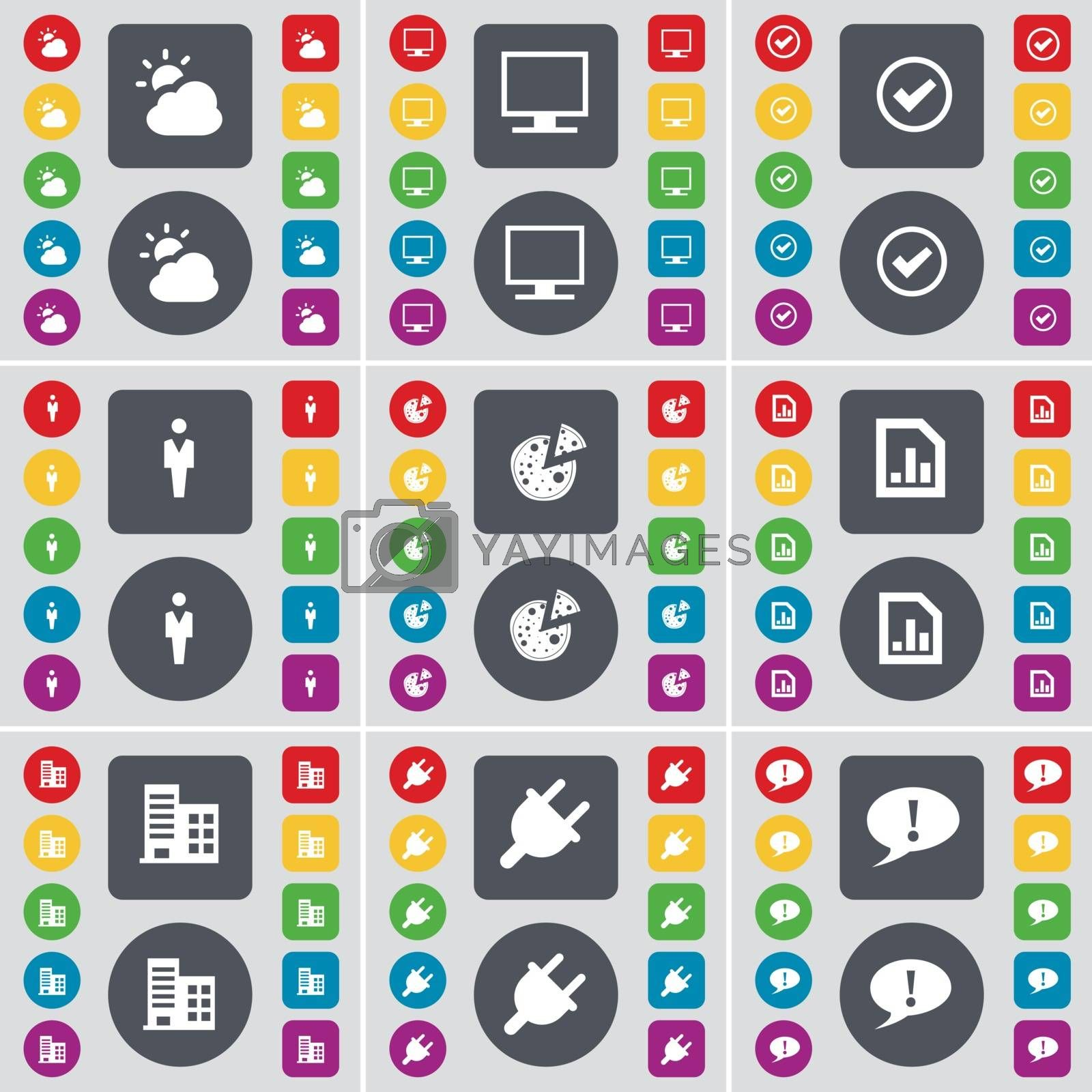 Royalty free image of Cloud, Monitor, Tick, Silhouette, Pizza, Graph file, Building, Socket, Chat bubble icon symbol. A large set of flat, colored buttons for your design. Vector by serhii_lohvyniuk