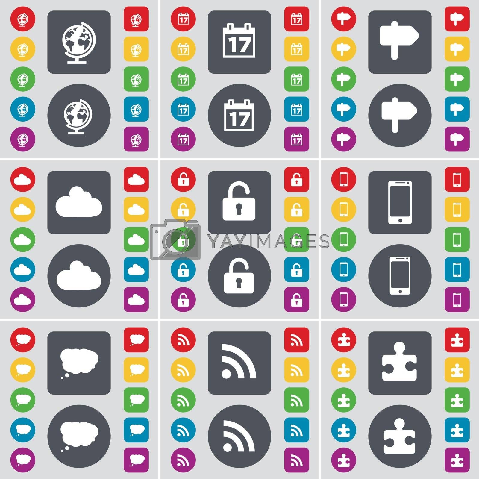 Royalty free image of Globe, Calendar, Signpost, Cloud, Lock, Smartphone, Chat cloud, RSS, Puzzle part icon symbol. A large set of flat, colored buttons for your design. Vector by serhii_lohvyniuk
