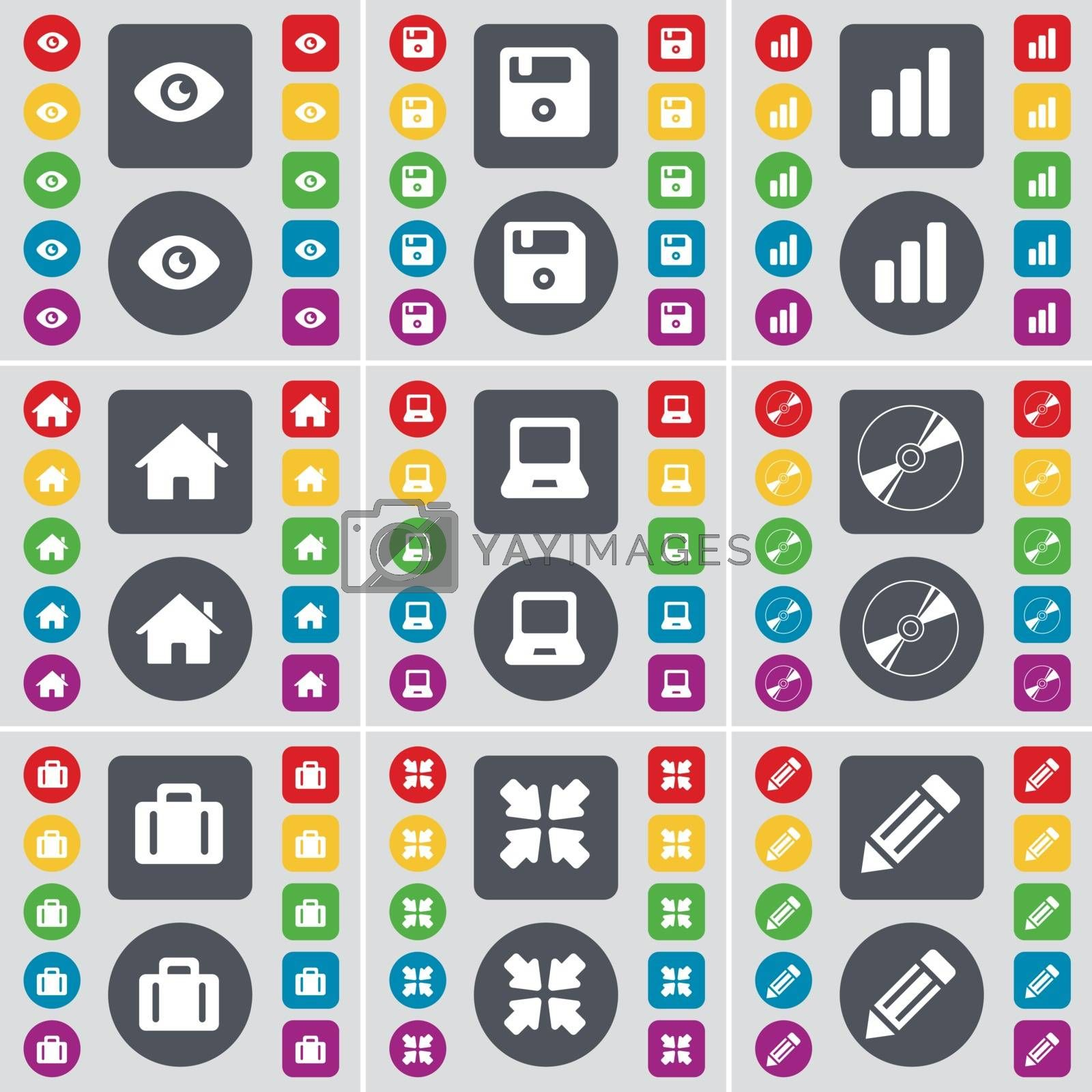 Vision, Floppy disk, Diagram, House, Laptop, DVD, Suicase, Deploying screen, Pencil icon symbol. A large set of flat, colored buttons for your design. Vector by serhii_lohvyniuk