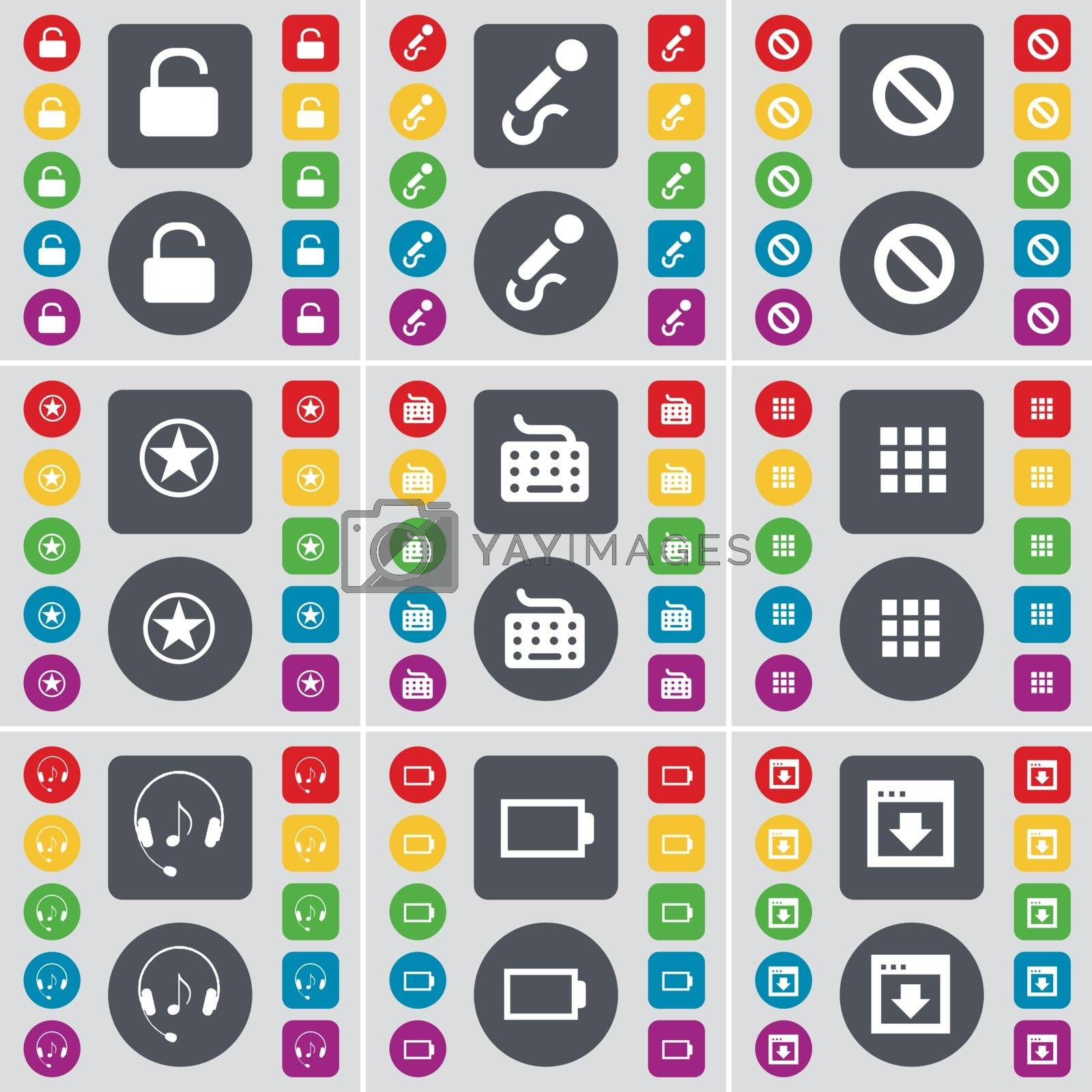 Royalty free image of Lock, Microphone, Stop, Star, Keyboard, Apps, Headphones, Battery, Window icon symbol. A large set of flat, colored buttons for your design. Vector by serhii_lohvyniuk