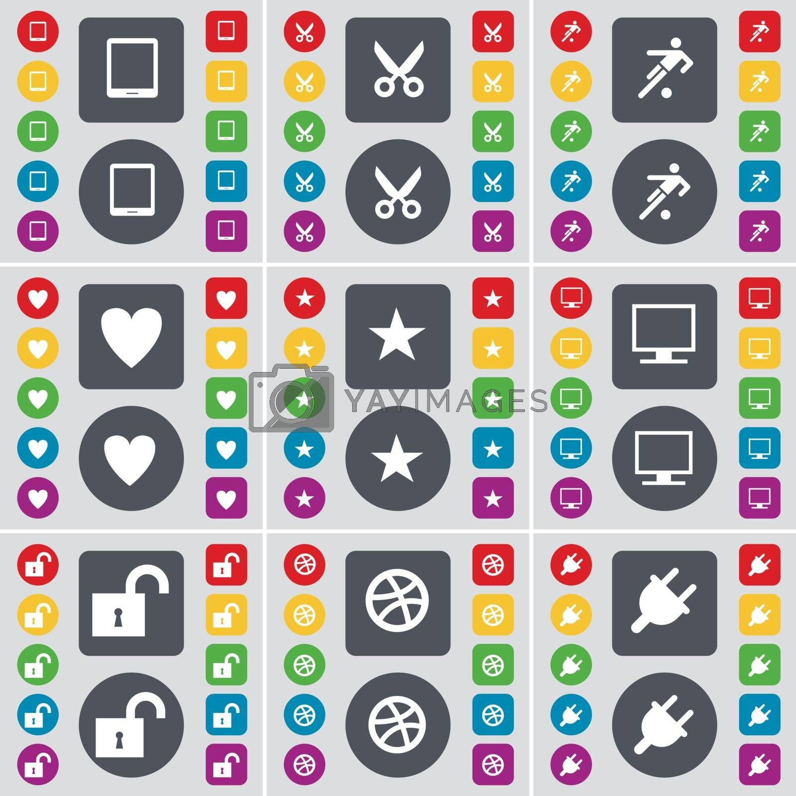 Royalty free image of Tabled PC, Scissors, Football, Heart, Star, Monitor, Lock, Ball, Socket icon symbol. A large set of flat, colored buttons for your design. Vector by serhii_lohvyniuk