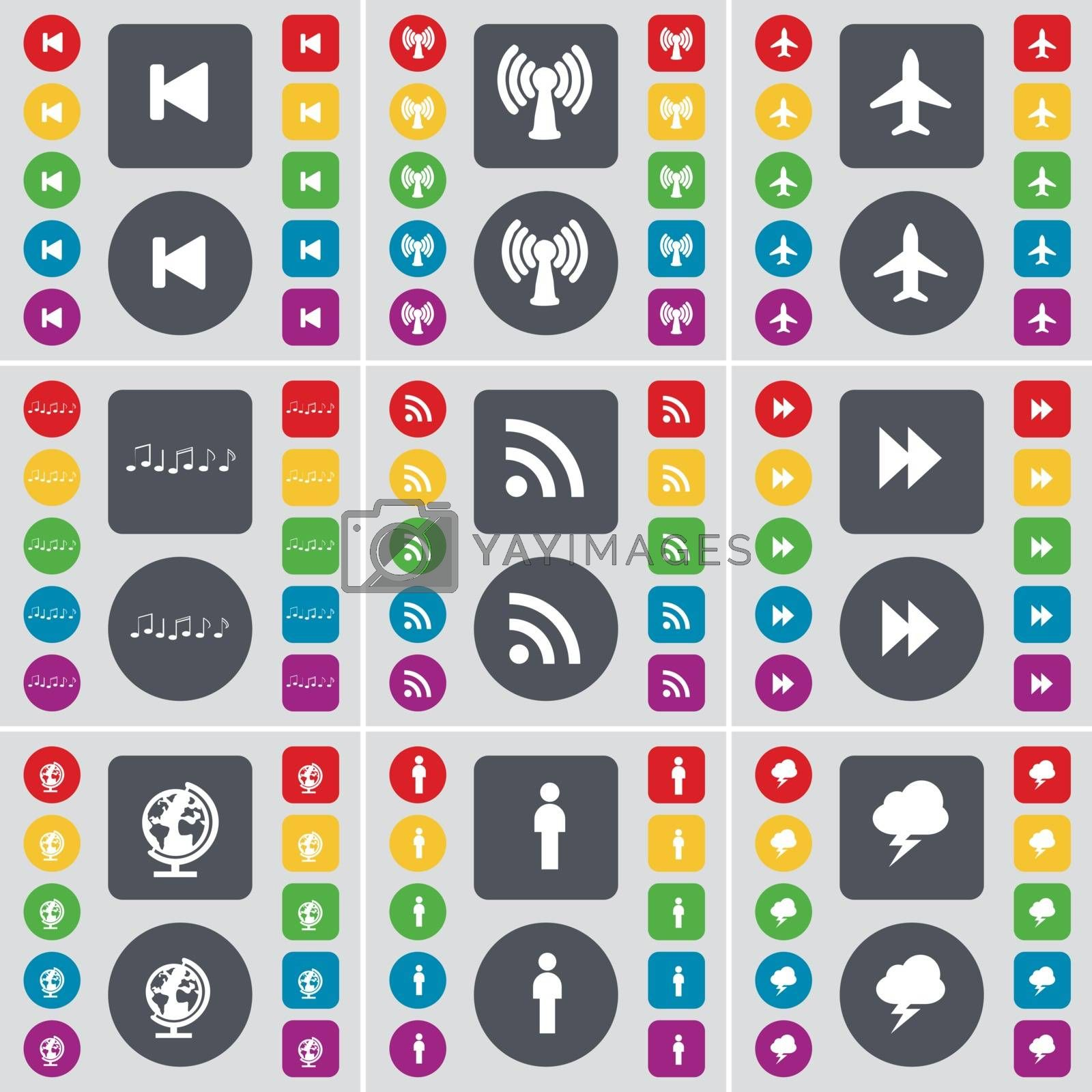 Royalty free image of Media skip, Wi-Fi, Airplane, Note, RSS, Rewind, Globe, Silhouette, Lightning icon symbol. A large set of flat, colored buttons for your design. Vector by serhii_lohvyniuk