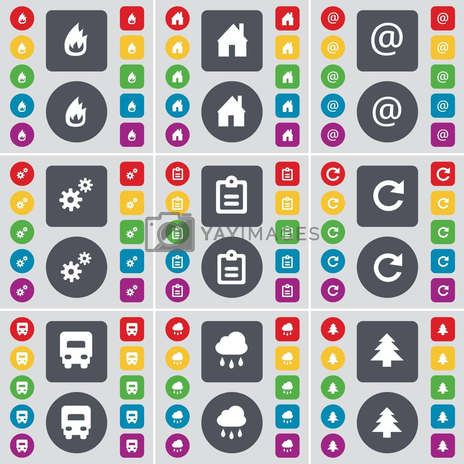 Royalty free image of Fire, House, Mail, Gear, Survey, Reload, Truck, Cloud, Firtree icon symbol. A large set of flat, colored buttons for your design. Vector by serhii_lohvyniuk