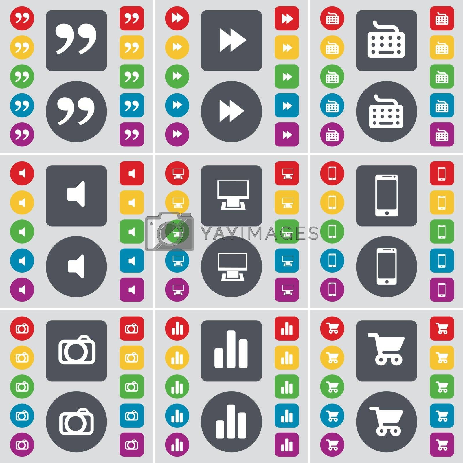 Royalty free image of Quotation mark, Rewind, Keyboard, Sound, Monitor, Smartphone, Camera, Diagram, Shopping cart icon symbol. A large set of flat, colored buttons for your design. Vector by serhii_lohvyniuk