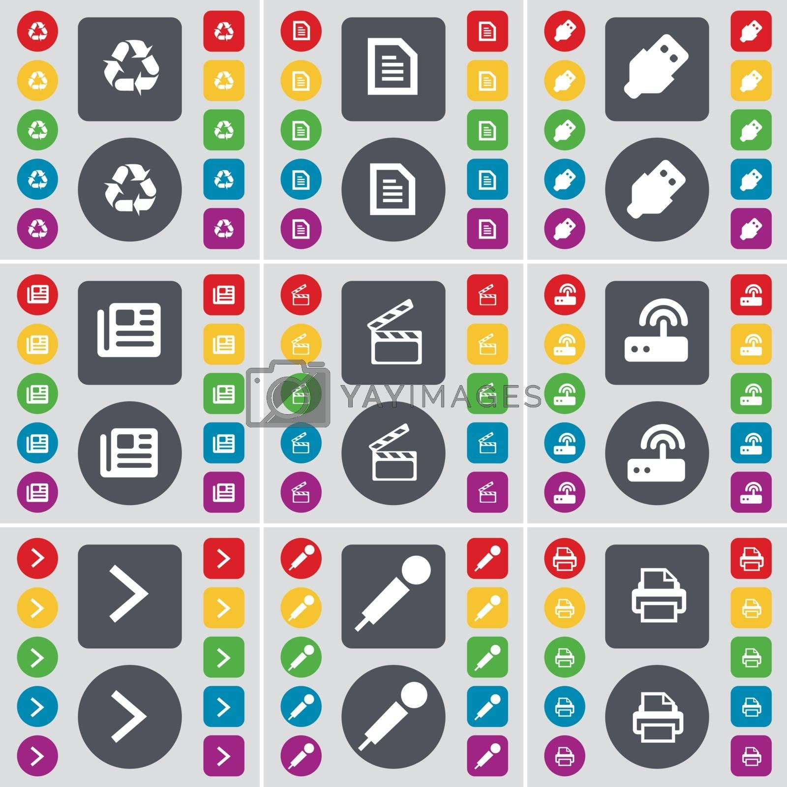 Royalty free image of Recycling, Text file, USB, Newspaper, Clapper, Router, Arrow right, Microphone, Printer icon symbol. A large set of flat, colored buttons for your design. Vector by serhii_lohvyniuk
