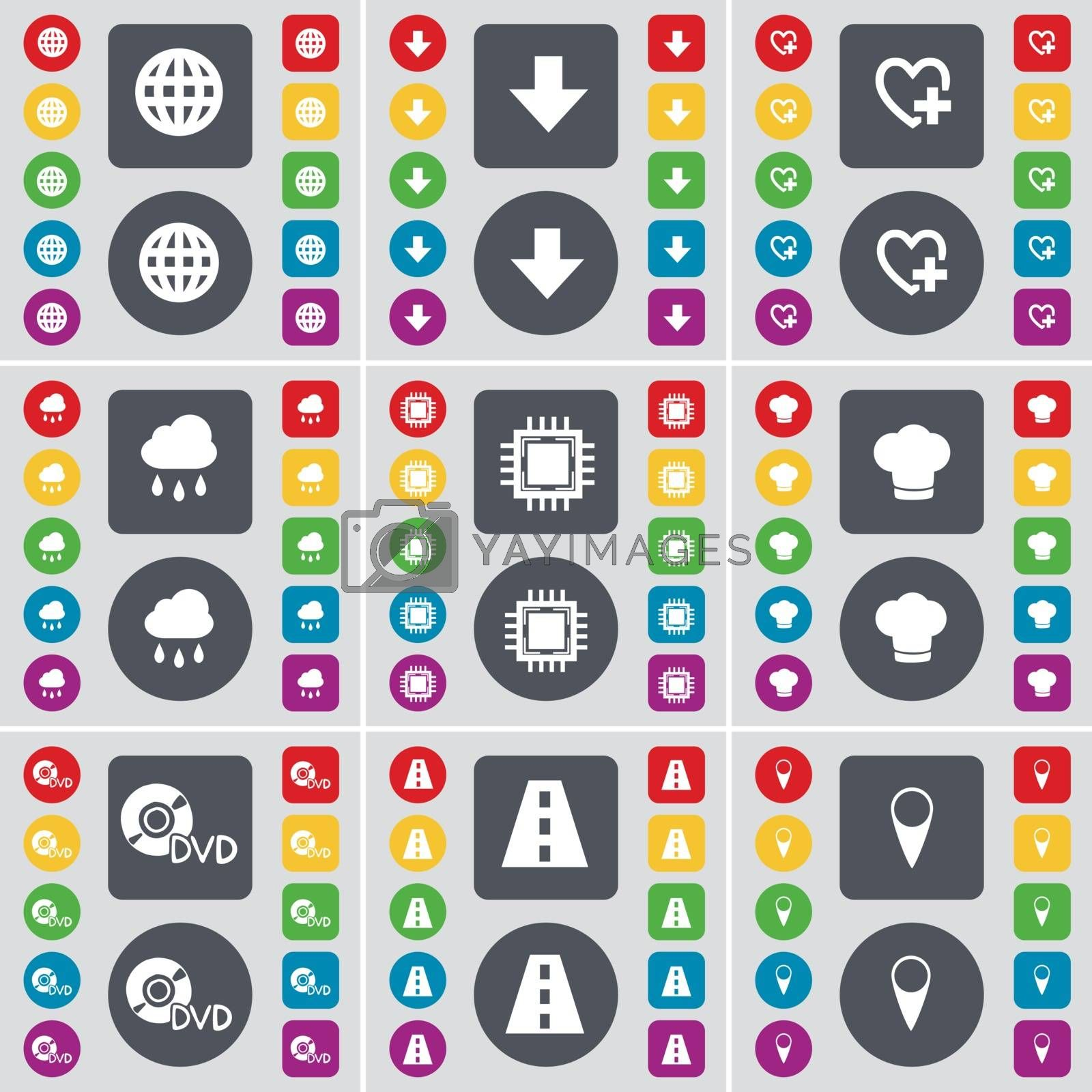 Globe, Arrow down, Heart, Cloud, Processor, Cooking hat, DVD, Road, Checkpoint icon symbol. A large set of flat, colored buttons for your design. Vector by serhii_lohvyniuk