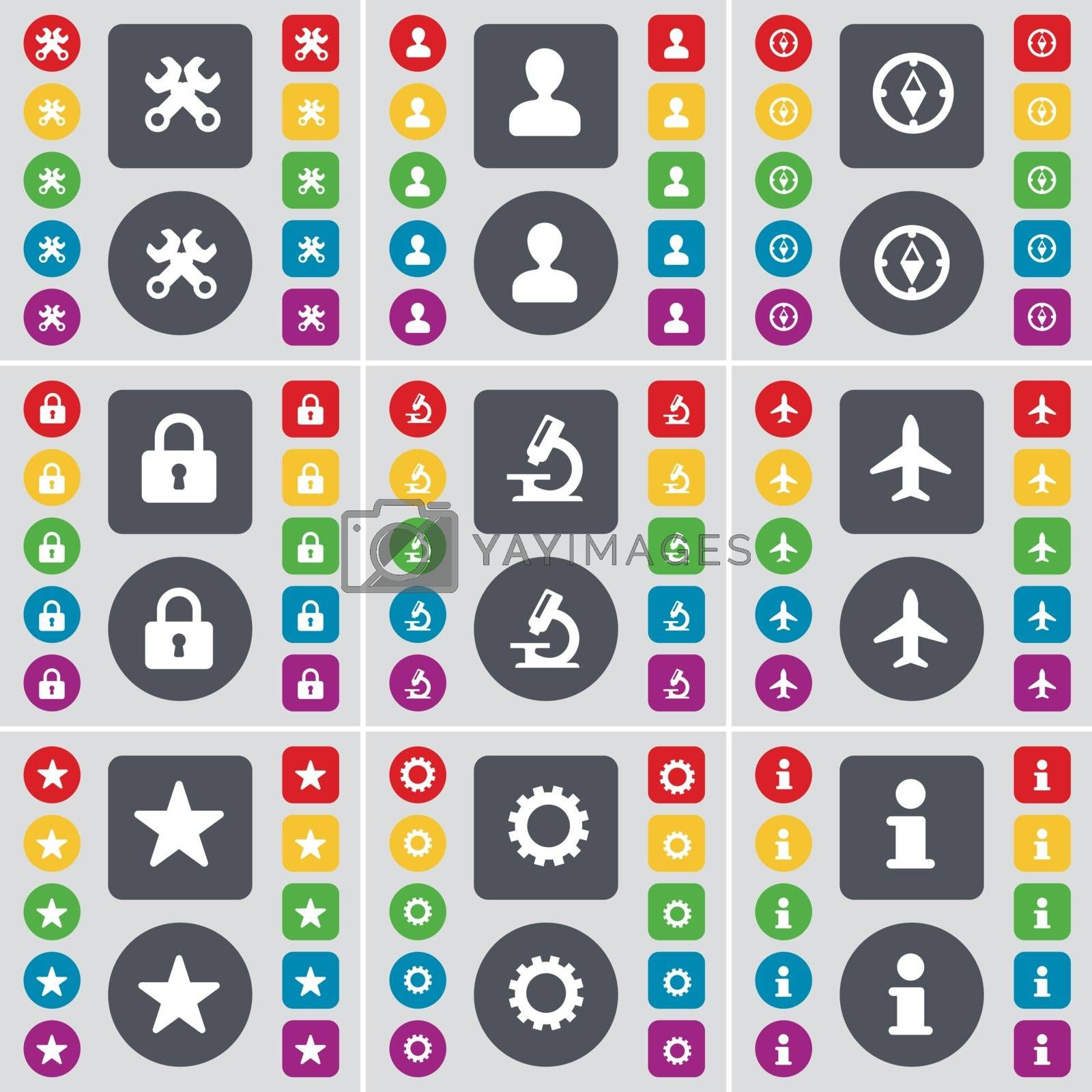 Royalty free image of Wrench, Avatar, Compass, Lock, Microscope, Airplane, Star, Gear, Information icon symbol. A large set of flat, colored buttons for your design. Vector by serhii_lohvyniuk