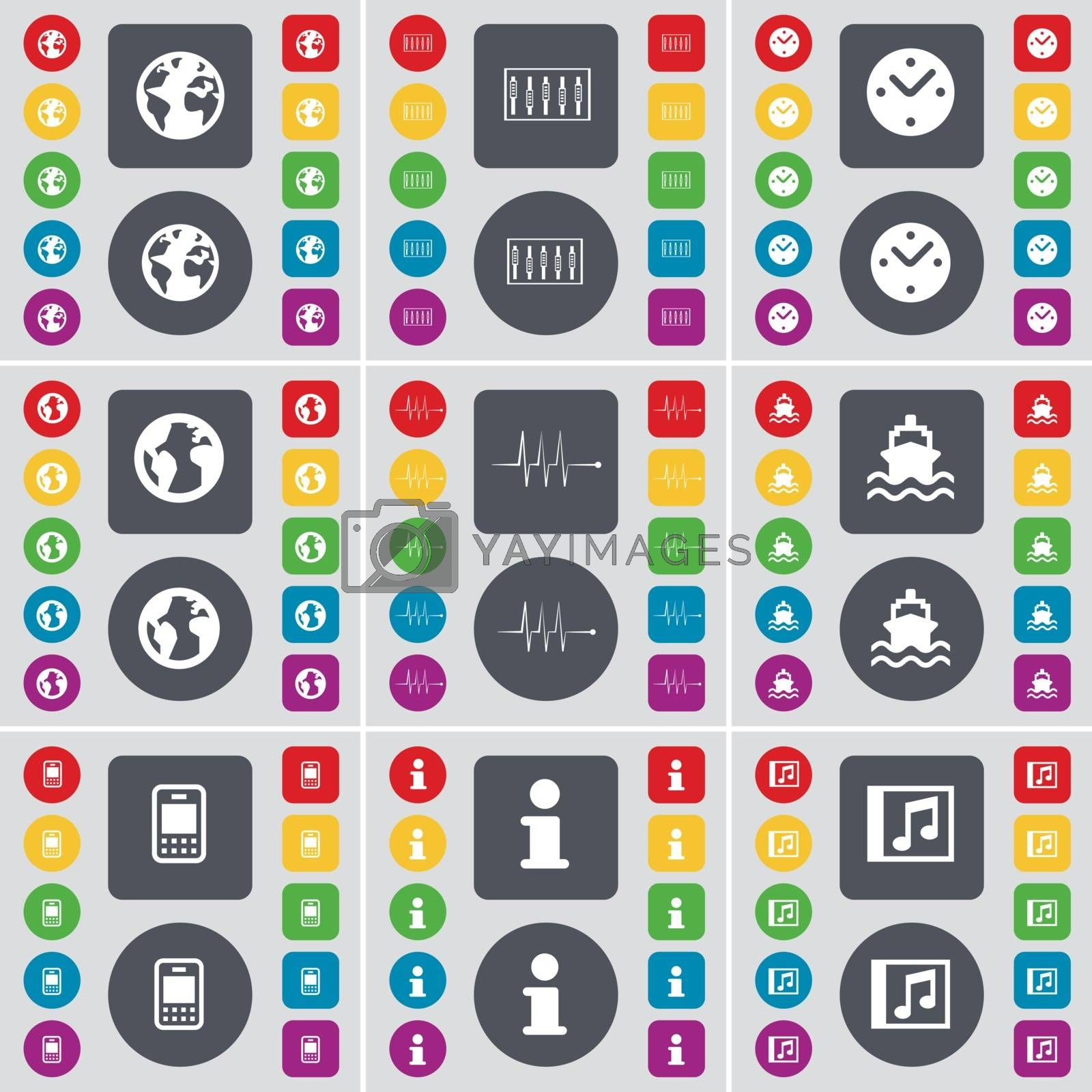 Royalty free image of Globe, Equalizer, Clock, Globe, Pulse, Ship, Mobile phone,  Information, Music window icon symbol. A large set of flat, colored buttons for your design. Vector by serhii_lohvyniuk