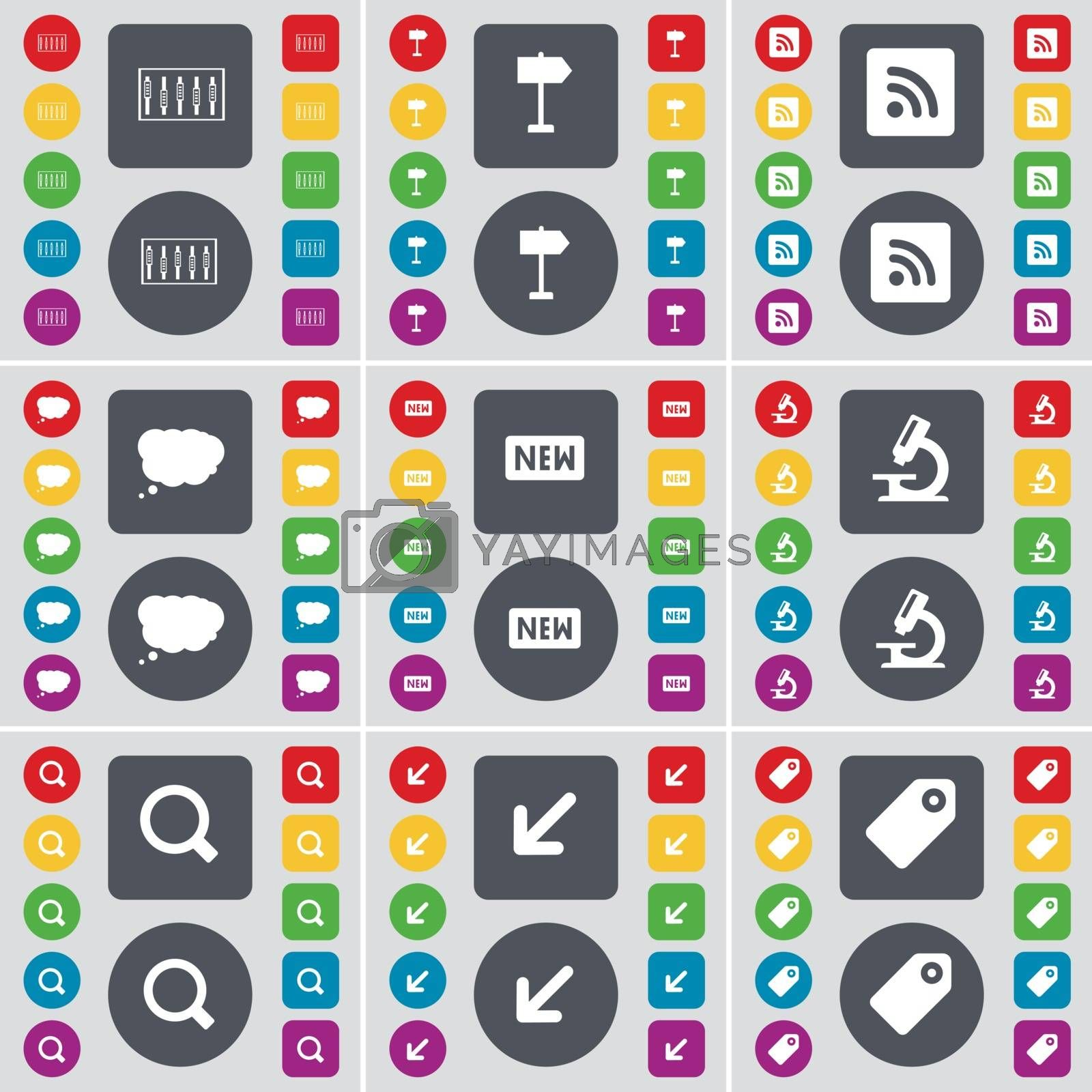 Royalty free image of Equalizer, Sighpost, RSS, Chat cloud, New, Microscope, Magnifying glass, Deploying screen, Tag icon symbol. A large set of flat, colored buttons for your design. Vector by serhii_lohvyniuk