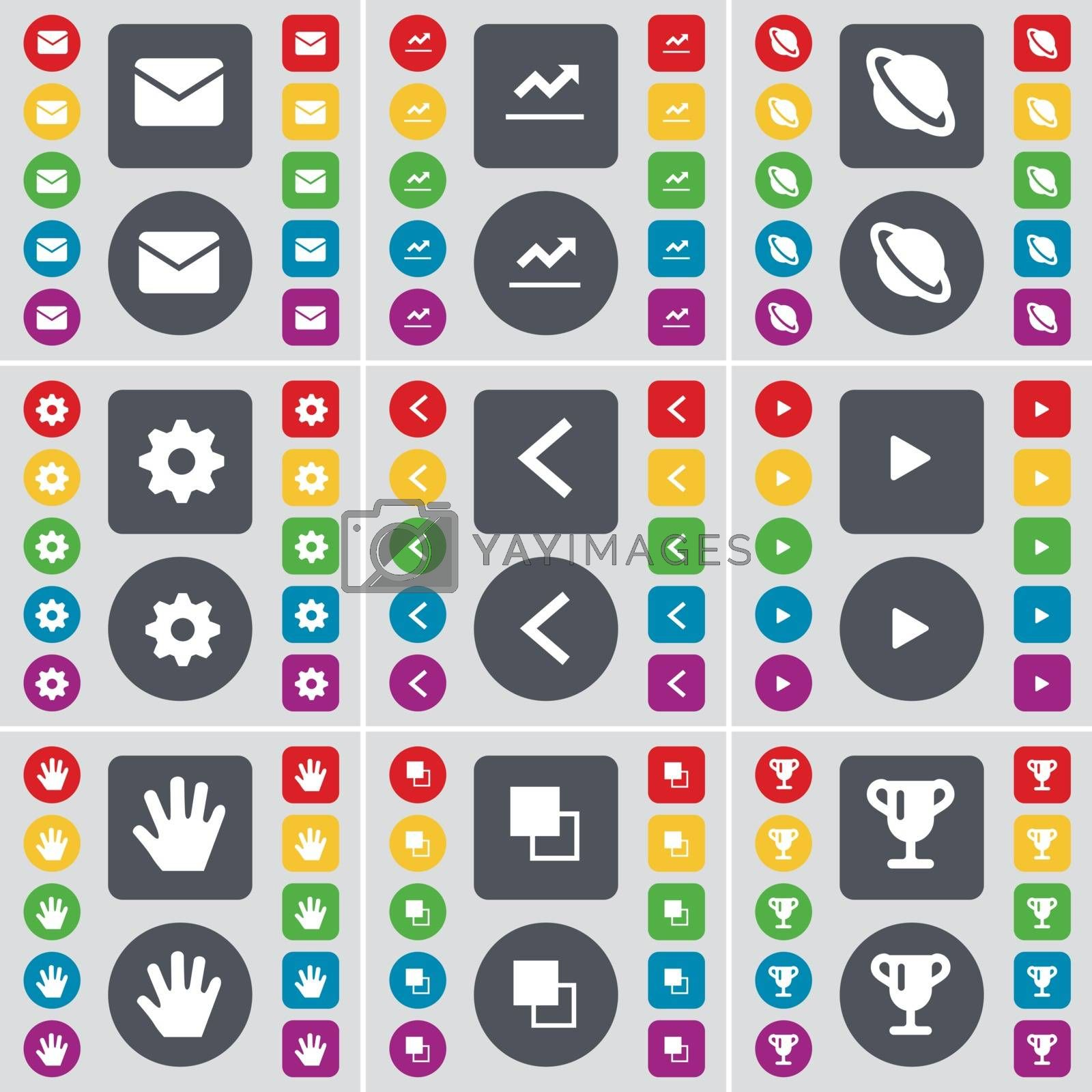 Message, Graph, Planet, Gear, Arrow left, Media play, Hand, Copy, Cup icon symbol. A large set of flat, colored buttons for your design. Vector by serhii_lohvyniuk