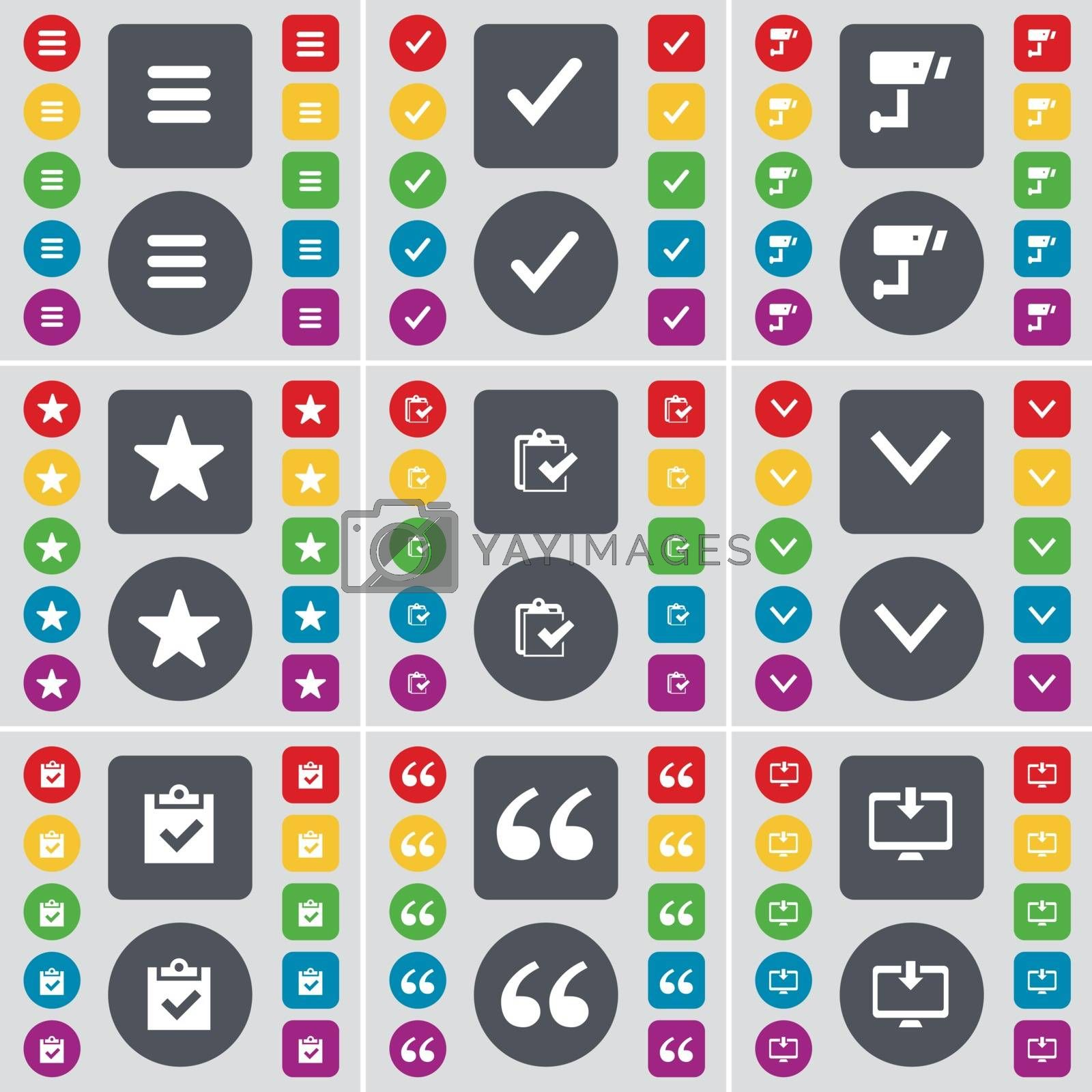 Royalty free image of Apps, Tick, CCTV, Star, Survey, Arrow down, Survey, Quotation mark, Monitor icon symbol. A large set of flat, colored buttons for your design. Vector by serhii_lohvyniuk