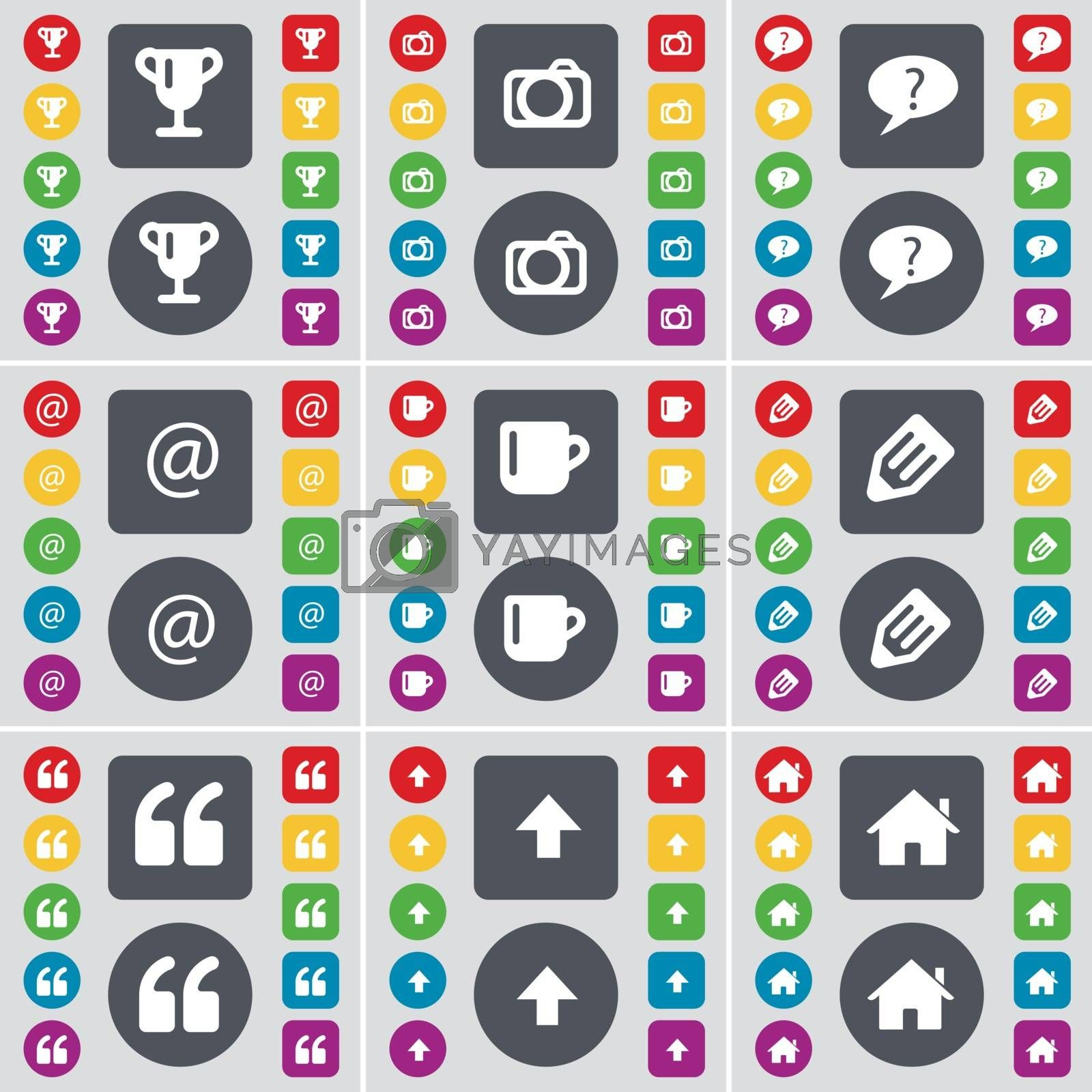 Royalty free image of Cup, Camera, Chat bubble, Mail, Cup, Pencil, Quotation mark, Arrow up, House icon symbol. A large set of flat, colored buttons for your design. Vector by serhii_lohvyniuk