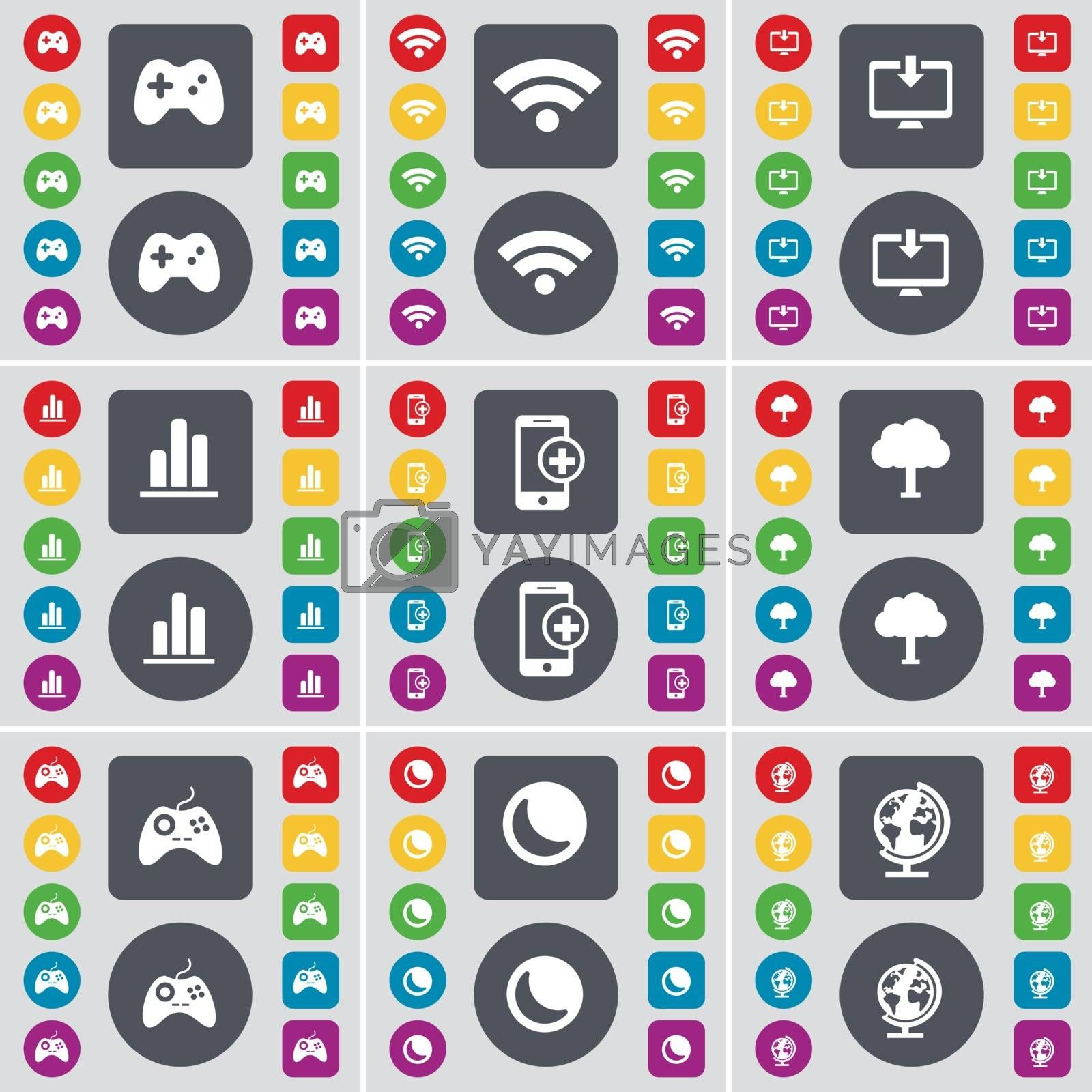Royalty free image of Gamepad, Wi-Fi, Monitor, Diagram, Smartphone, Tree, Gamepad, Moon, Globe icon symbol. A large set of flat, colored buttons for your design. Vector by serhii_lohvyniuk