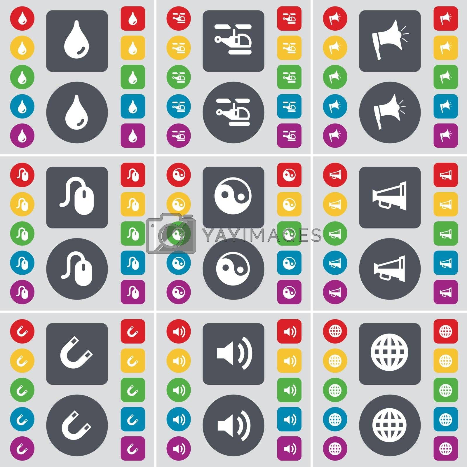 Royalty free image of Drop, Helicopter, Megaphone, Mouse, Yin-Yang, Megaphone, Magnet, Sound, Globe icon symbol. A large set of flat, colored buttons for your design. Vector by serhii_lohvyniuk
