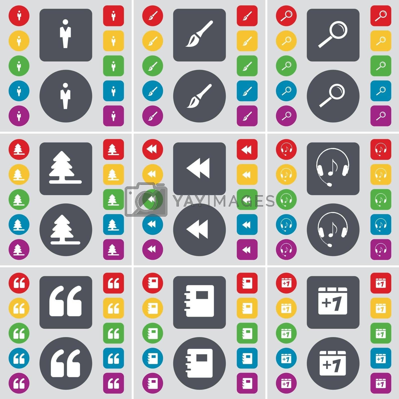 Royalty free image of Silhouette, Brush, Magnifying glass, Firtree, Rewind, Headphones, Quotation mark, Notebook, Plus one icon symbol. A large set of flat, colored buttons for your design. Vector by serhii_lohvyniuk