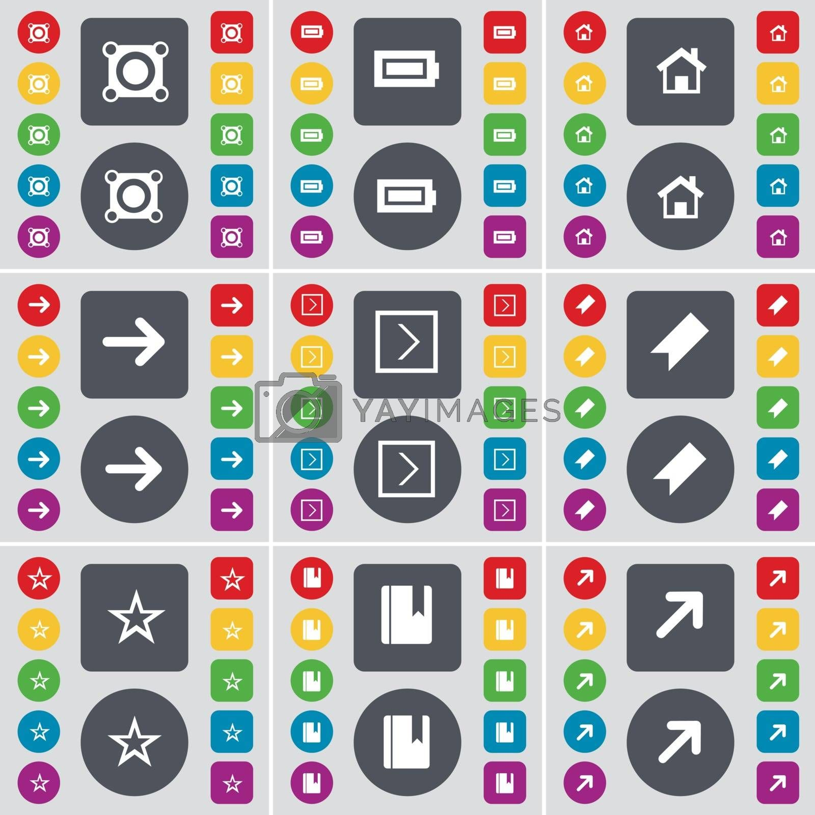 Royalty free image of Speaker, Battery, House, Arrow right, Marker, Star, Dictionary, Full screen icon symbol. A large set of flat, colored buttons for your design. Vector by serhii_lohvyniuk