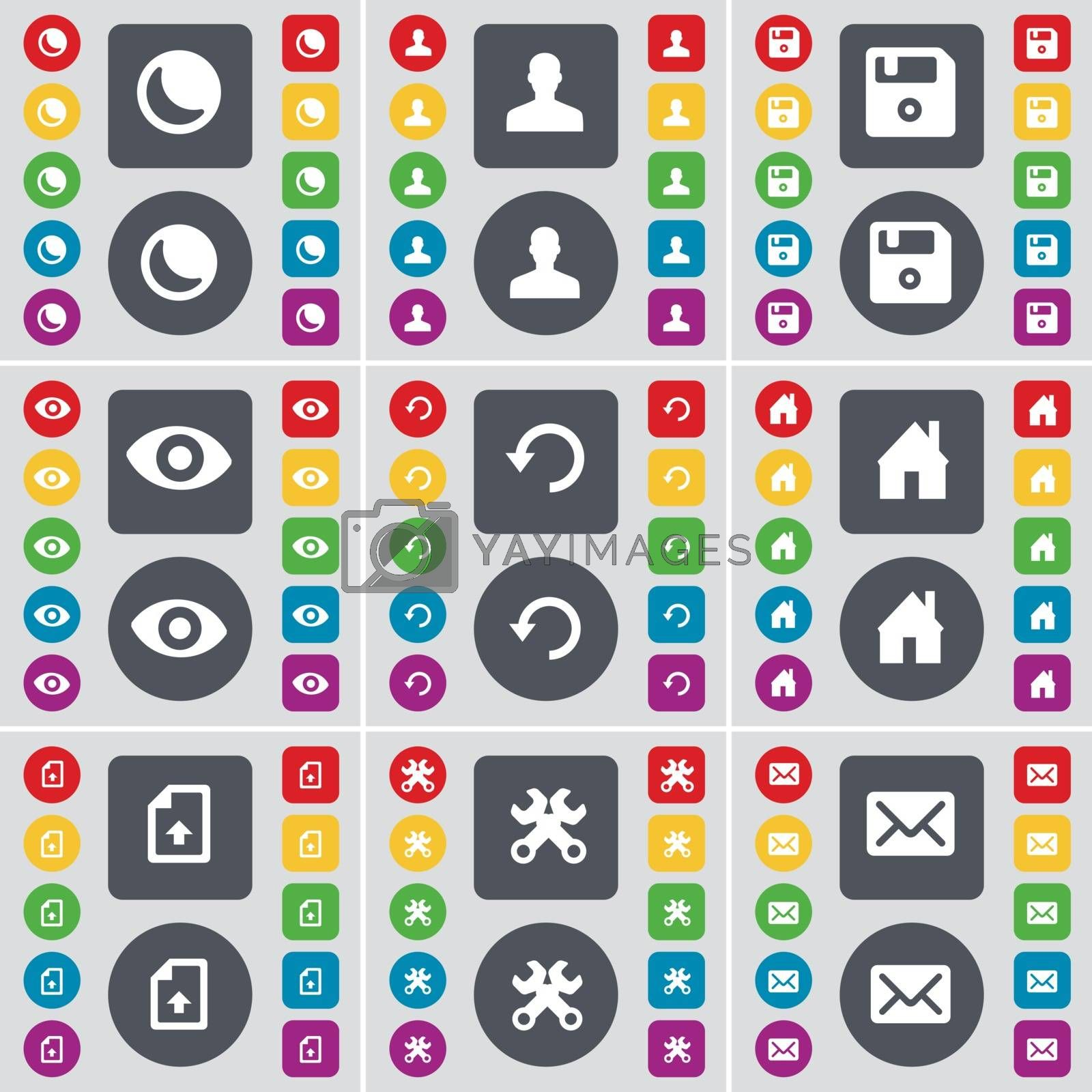 Royalty free image of Moon, Avatar, Floppy, Vision, Reload, House, Upload file, Wrenches, Message icon symbol. A large set of flat, colored buttons for your design. Vector by serhii_lohvyniuk