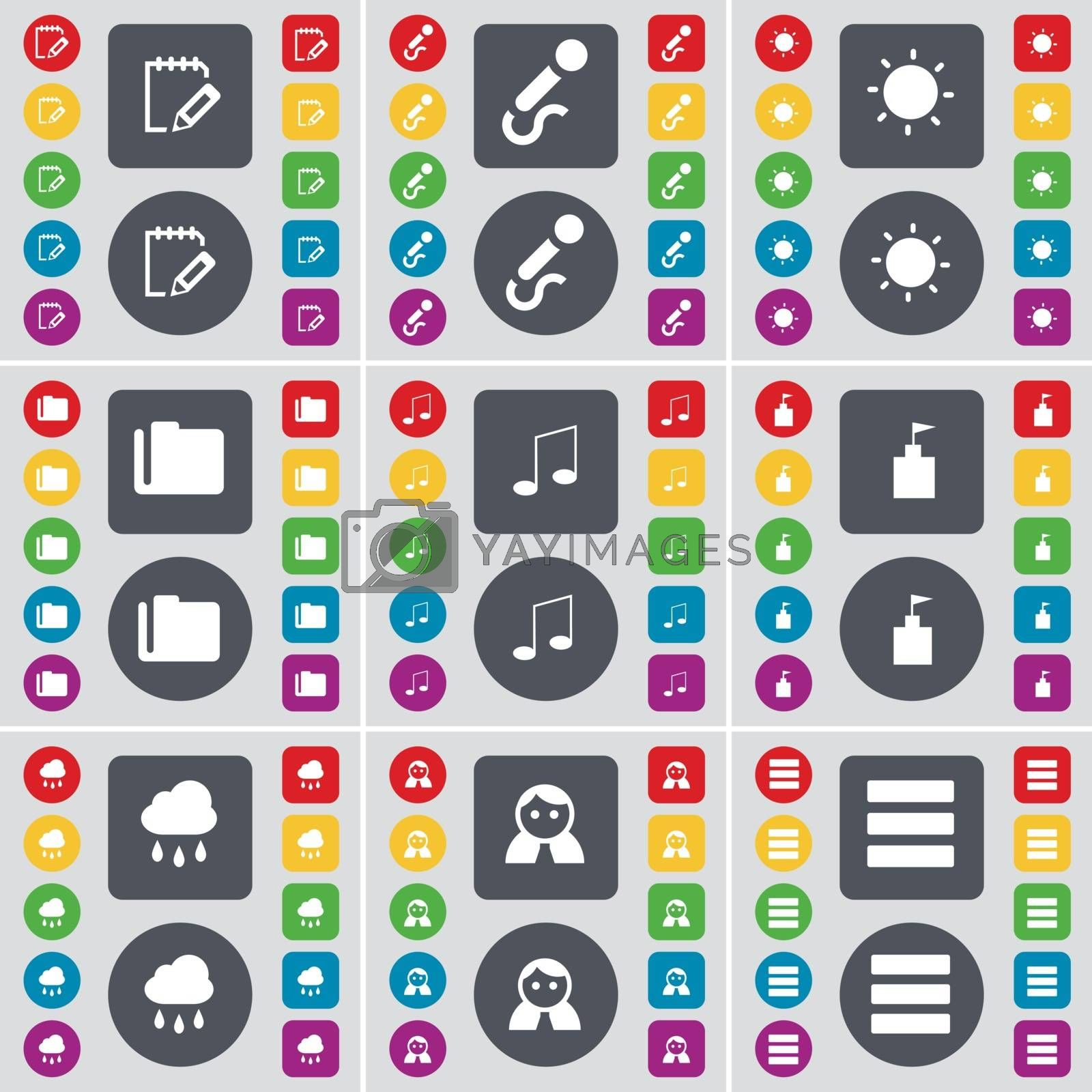 Royalty free image of Notebook, Microphone, Light, Folder, Note, Flag tower, Cloud, Avatar, Apps icon symbol. A large set of flat, colored buttons for your design. Vector by serhii_lohvyniuk