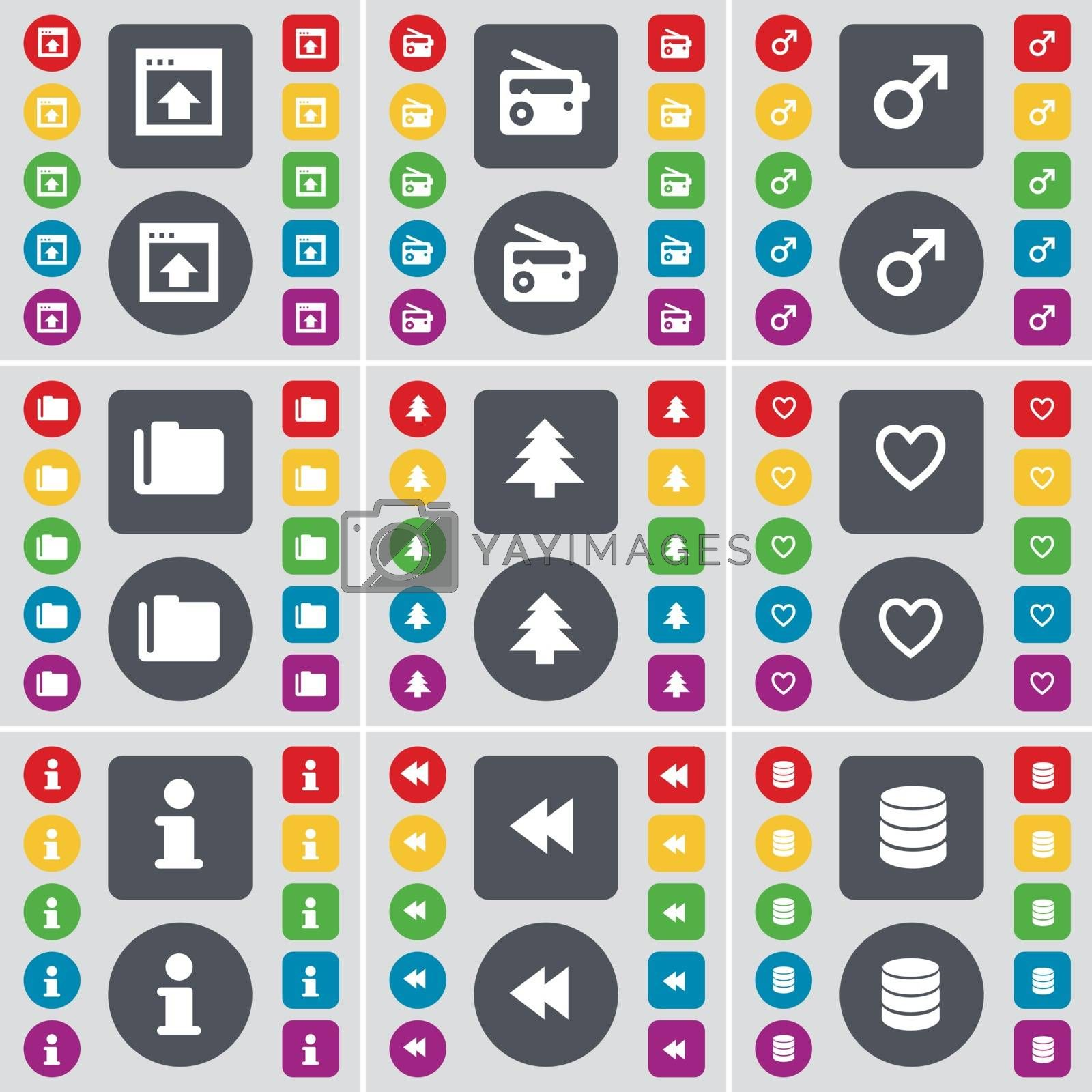 Window, Radio, Mars symbol, Folder, Firtree, Heart, Information, Rewind, Database icon symbol. A large set of flat, colored buttons for your design. Vector by serhii_lohvyniuk