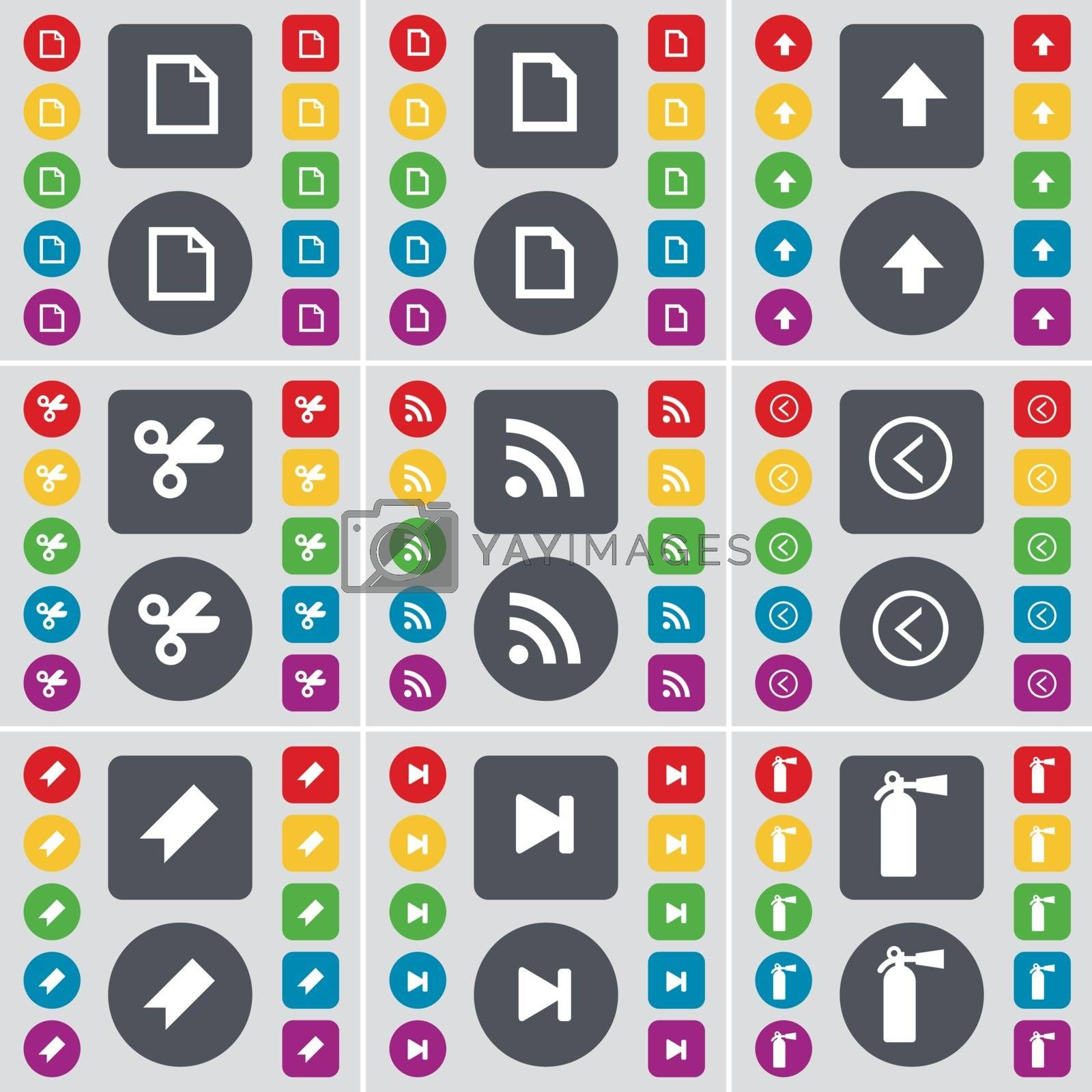 Royalty free image of File, Arrow up, Scissors, RSS, Arrow left, Marker, Media skip, Fire extinguisher icon symbol. A large set of flat, colored buttons for your design. Vector by serhii_lohvyniuk