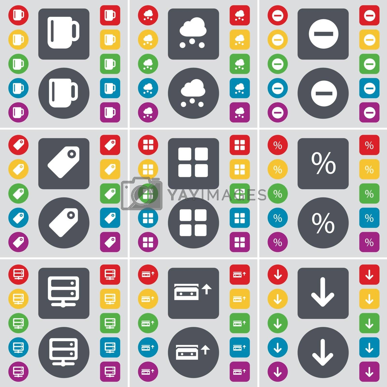 Royalty free image of Cup, Cloud, Minus, Tag, Apps, Percent, Server, Cassette, Arrow down icon symbol. A large set of flat, colored buttons for your design. Vector by serhii_lohvyniuk