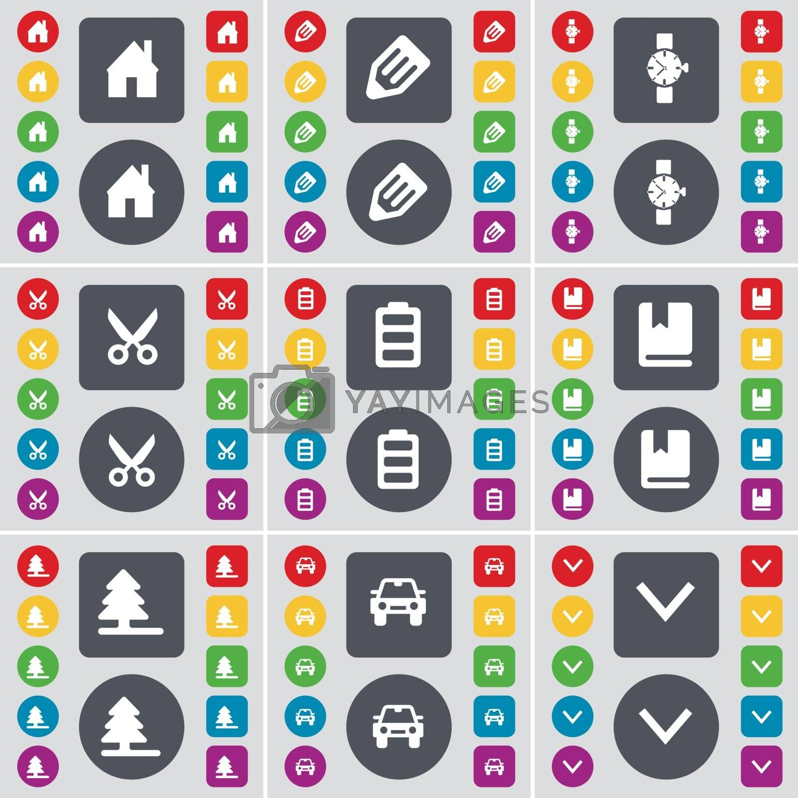 Royalty free image of House, Pencil, Wrist watch, Scissors, Battery, Dictionary, Firtree, Car, Arrow down icon symbol. A large set of flat, colored buttons for your design. Vector by serhii_lohvyniuk