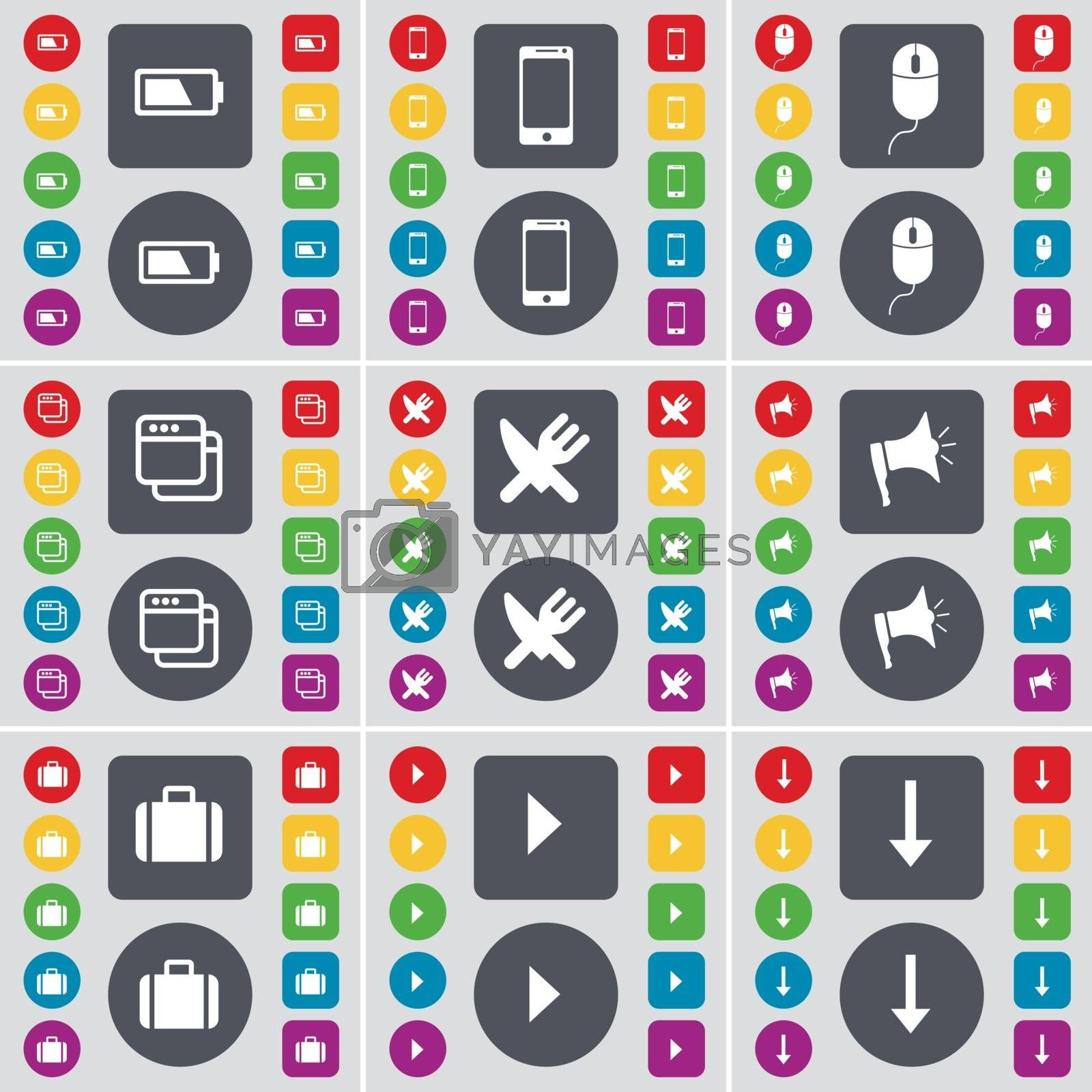 Royalty free image of Battery, Smartphone, Mouse, Window, Fork and knife, Megaphone, Suitcase, Media play, Arrow down icon symbol. A large set of flat, colored buttons for your design. Vector by serhii_lohvyniuk