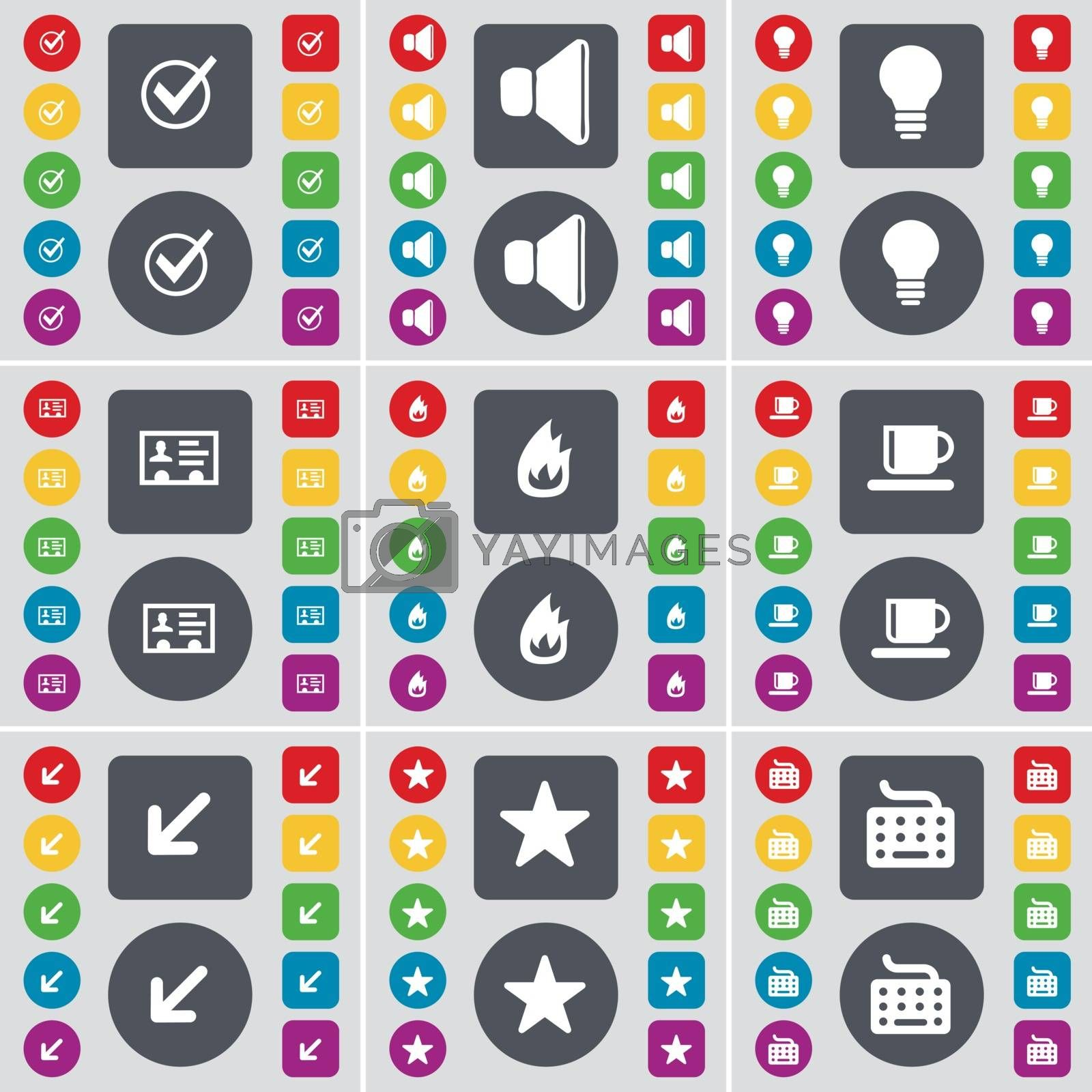 Royalty free image of Tick, Sound, Light bulb, Contact, Fire, Cup, Deploying screen, Star, Keyboard icon symbol. A large set of flat, colored buttons for your design. Vector by serhii_lohvyniuk