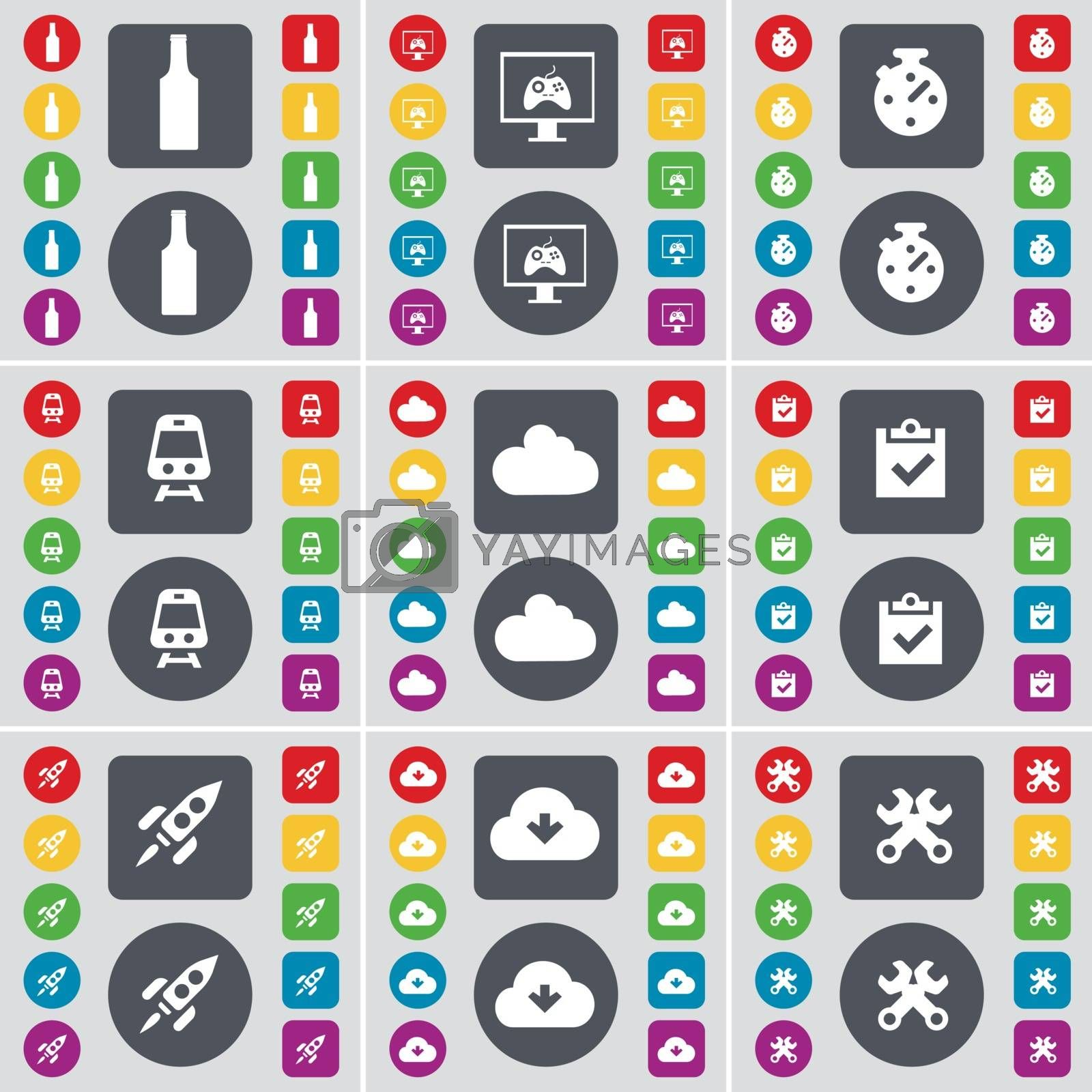 Bottle, Monitor, Stopwatch, Train, Cloud, Survey, Rocket, Cloud, Wrench icon symbol. A large set of flat, colored buttons for your design. Vector by serhii_lohvyniuk