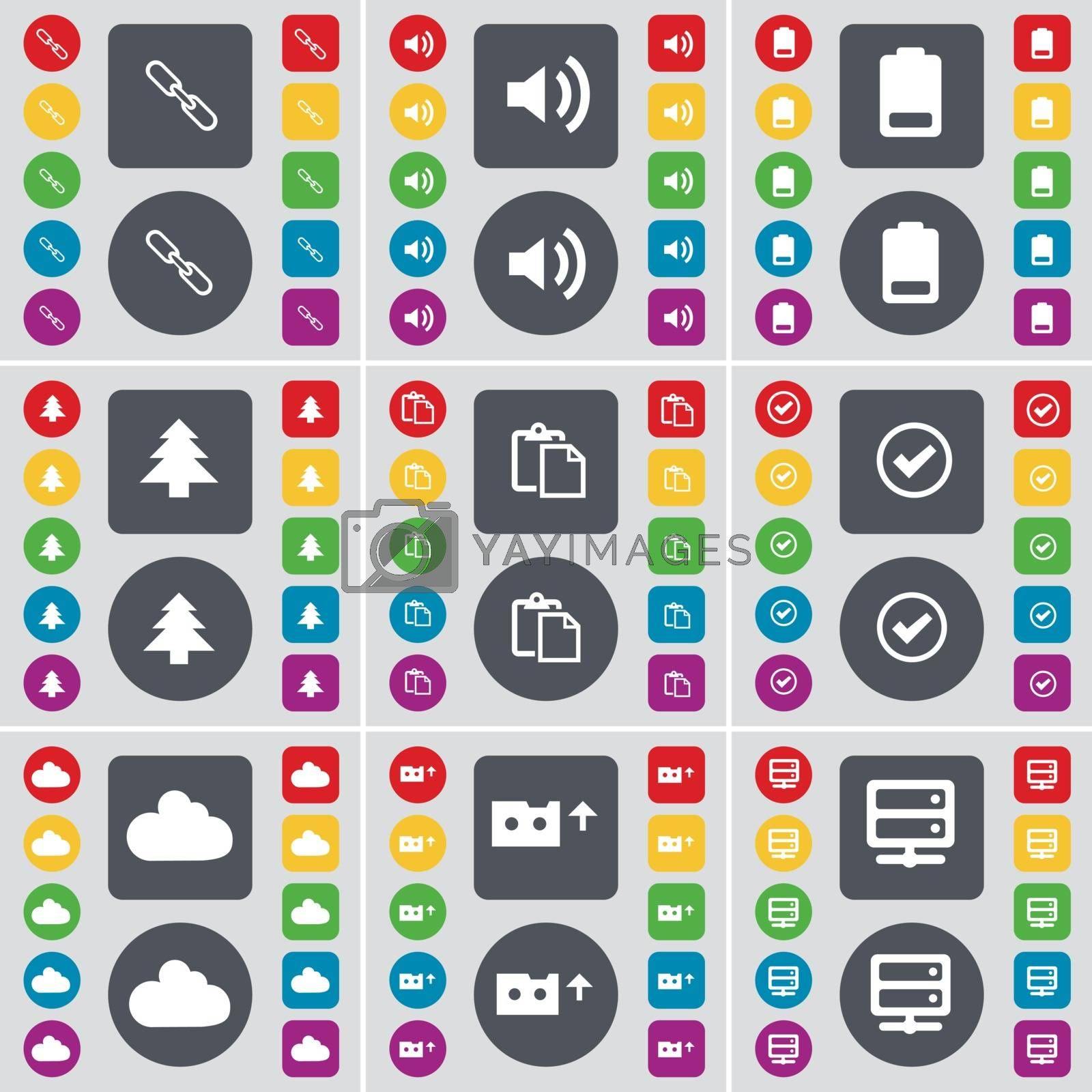 Royalty free image of Link, Sound, Battery, Firtree, Survey, Tick, Cloud, Cassette, Server icon symbol. A large set of flat, colored buttons for your design. Vector by serhii_lohvyniuk