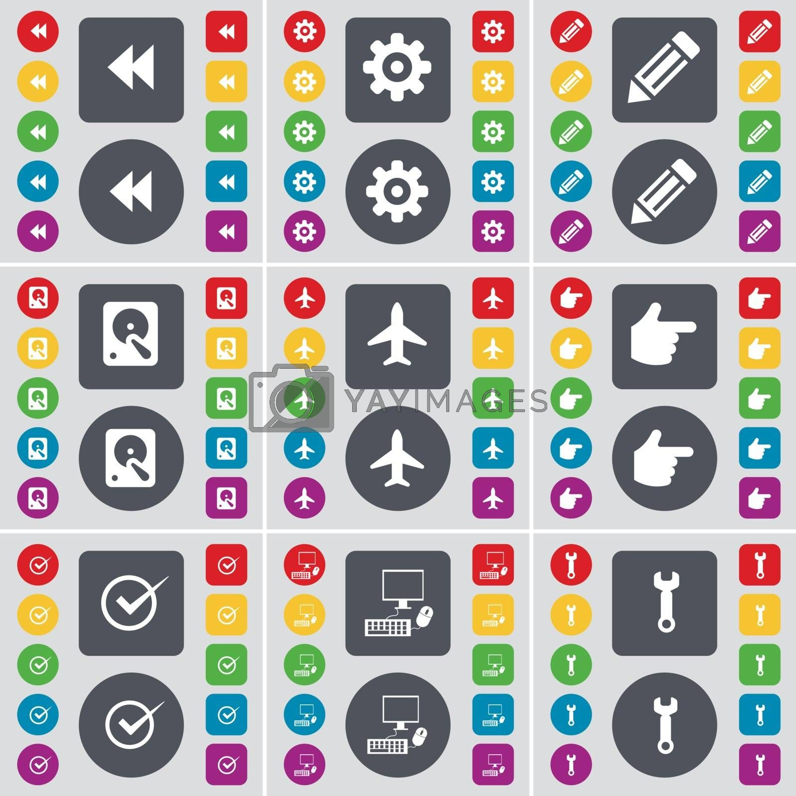 Royalty free image of Rewind, Gear, Pencil, Hard drive, Airplane, Hand, Tick, PC, Wrench icon symbol. A large set of flat, colored buttons for your design. Vector by serhii_lohvyniuk