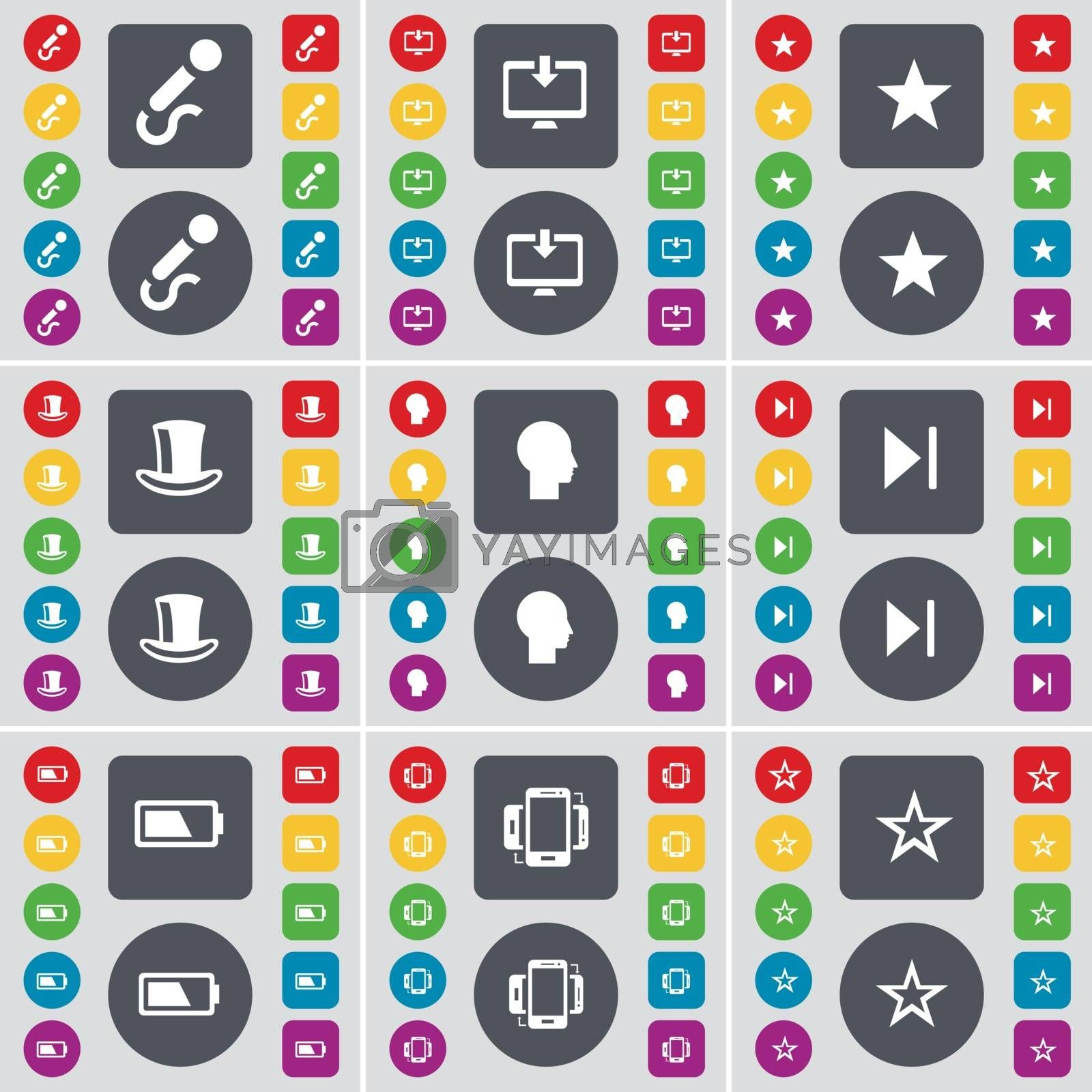 Royalty free image of Microphone, Monitor, Star, Silk hat, Silhouette, Media skip, Battery, Smartphone, Star icon symbol. A large set of flat, colored buttons for your design. Vector by serhii_lohvyniuk