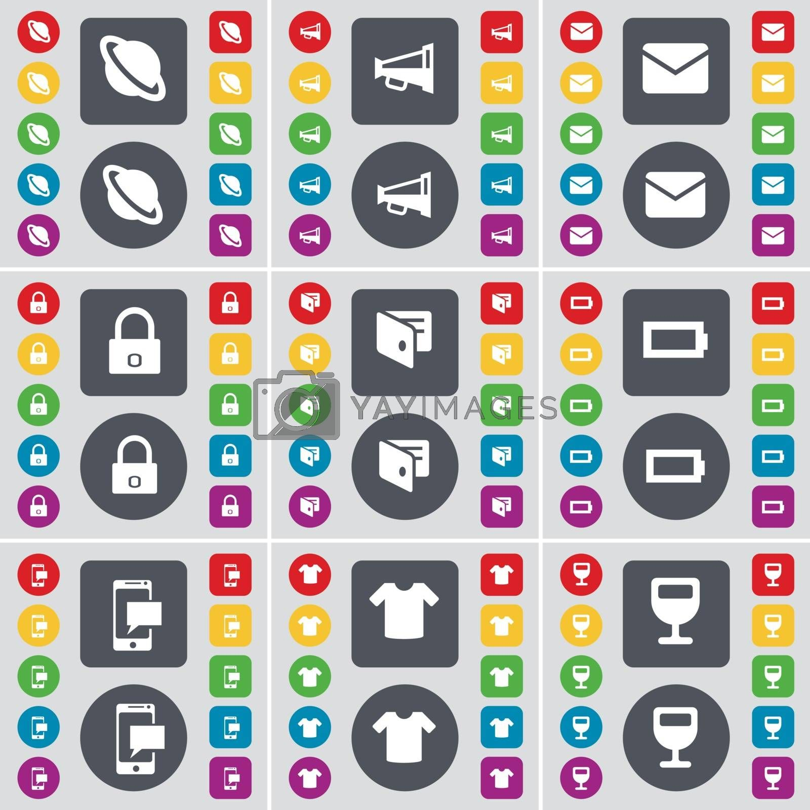 Royalty free image of Planet, Megaphone, Message, Lock, Wallet, Battery, SMS, T-Shirt, Wineglass icon symbol. A large set of flat, colored buttons for your design. Vector by serhii_lohvyniuk