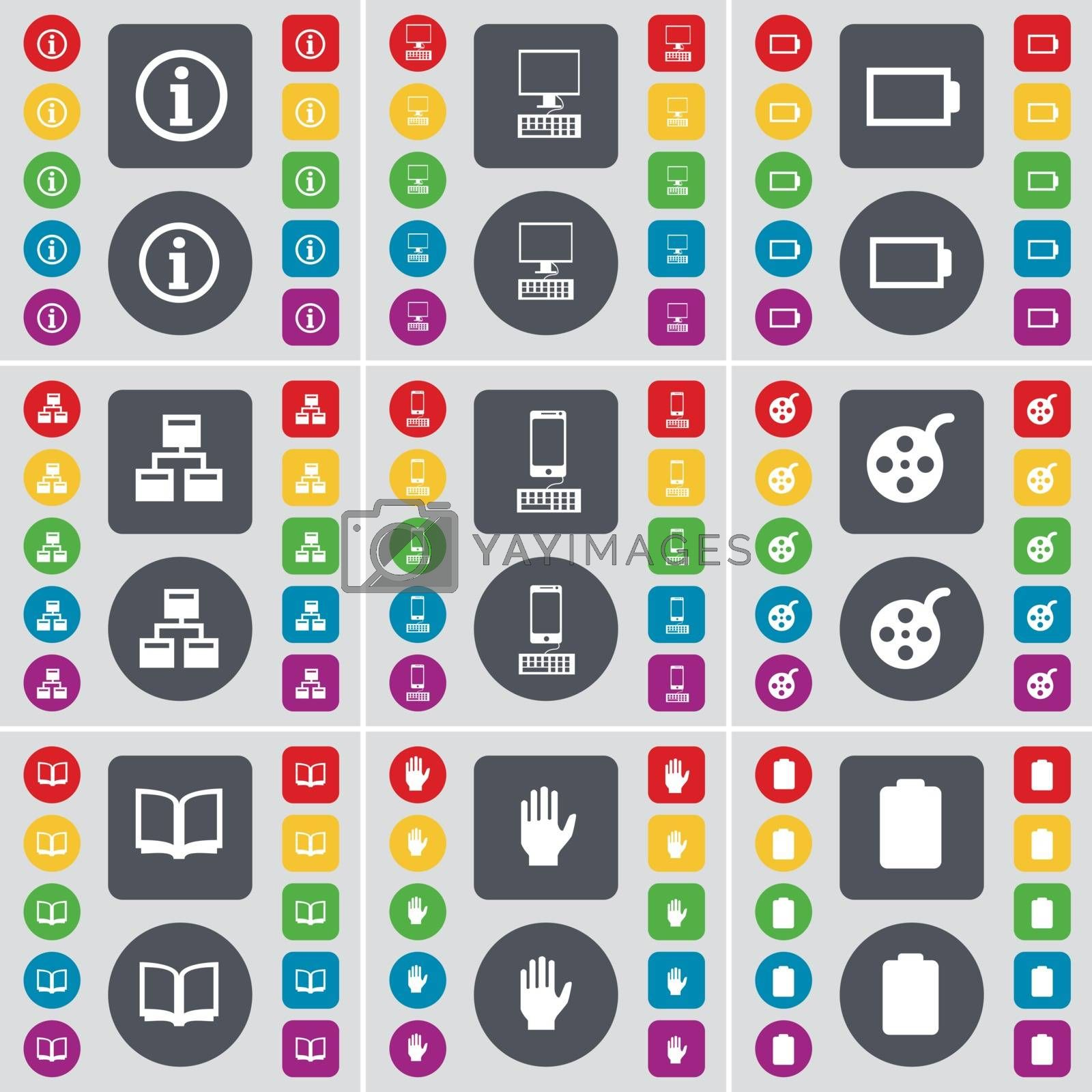 Royalty free image of Information, PC, Battery, Network, Smartphone, Videotape, Book, Hand, Battery icon symbol. A large set of flat, colored buttons for your design. Vector by serhii_lohvyniuk