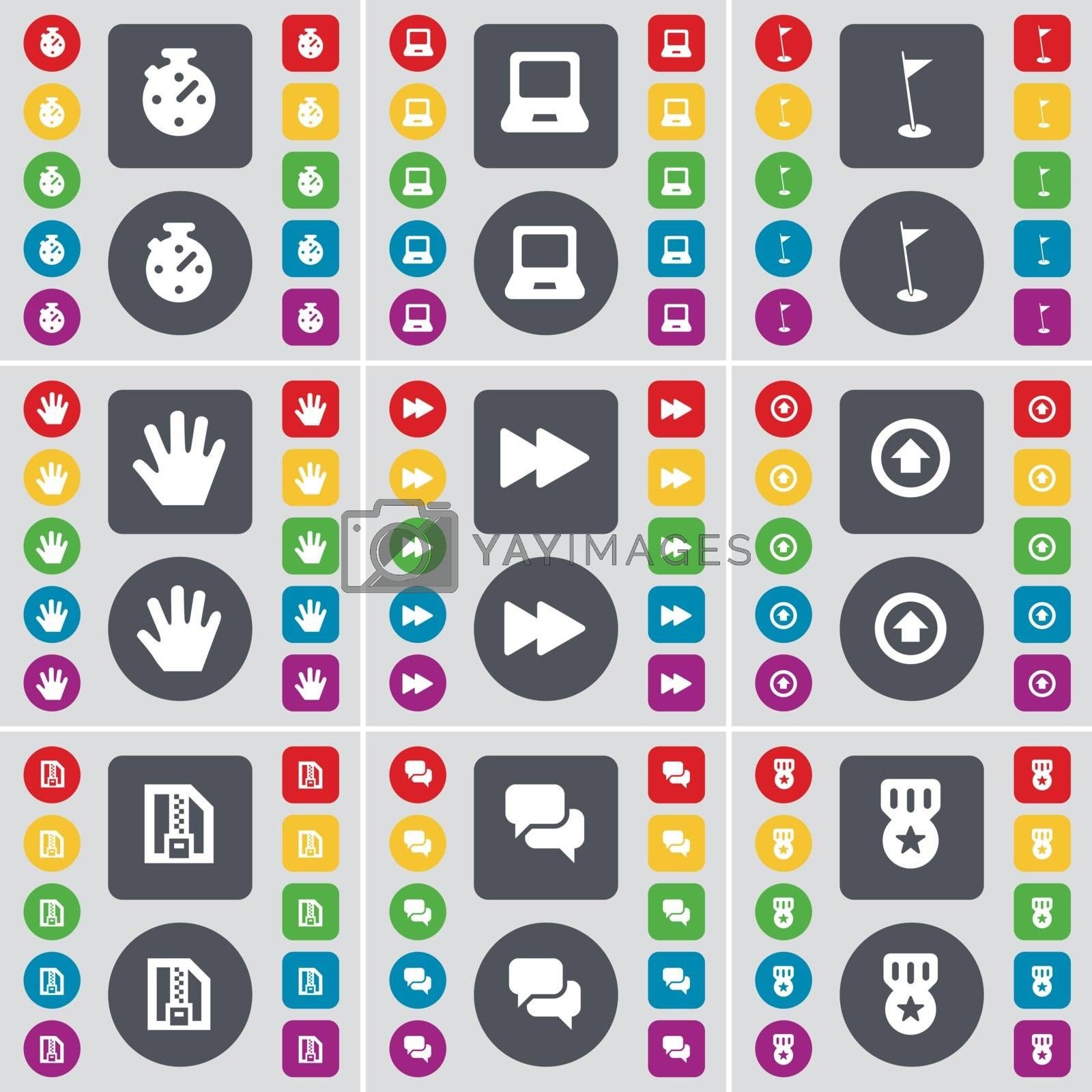 Royalty free image of Stop, Laptop, Golf hole, Hand, Rewind, Arrow up, ZIP file, Chat, Medal icon symbol. A large set of flat, colored buttons for your design. Vector by serhii_lohvyniuk
