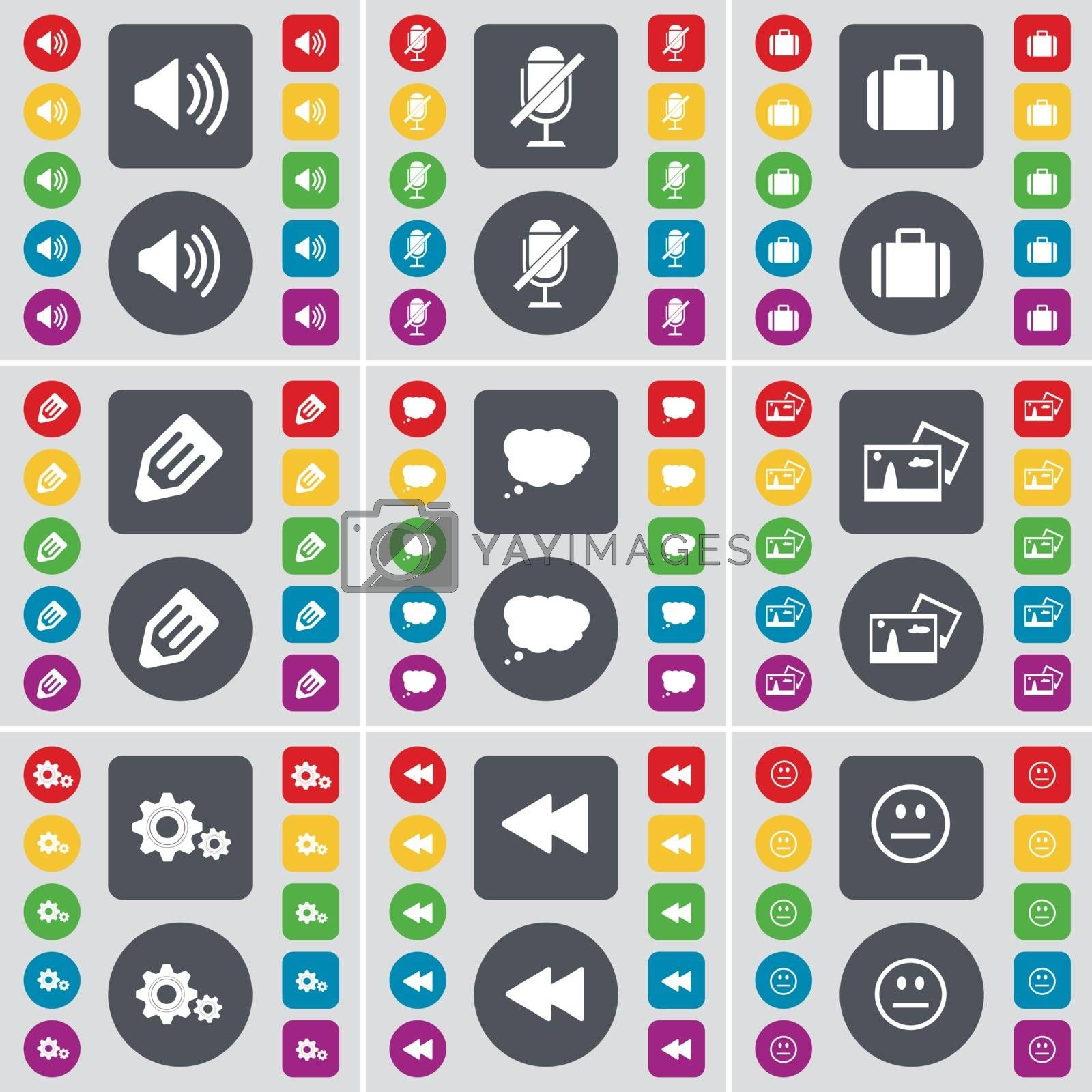 Royalty free image of Sound, Microphone, Suitcase, Pencil, Chat cloud, Picture, Gear, Rewind, Smile icon symbol. A large set of flat, colored buttons for your design. Vector by serhii_lohvyniuk