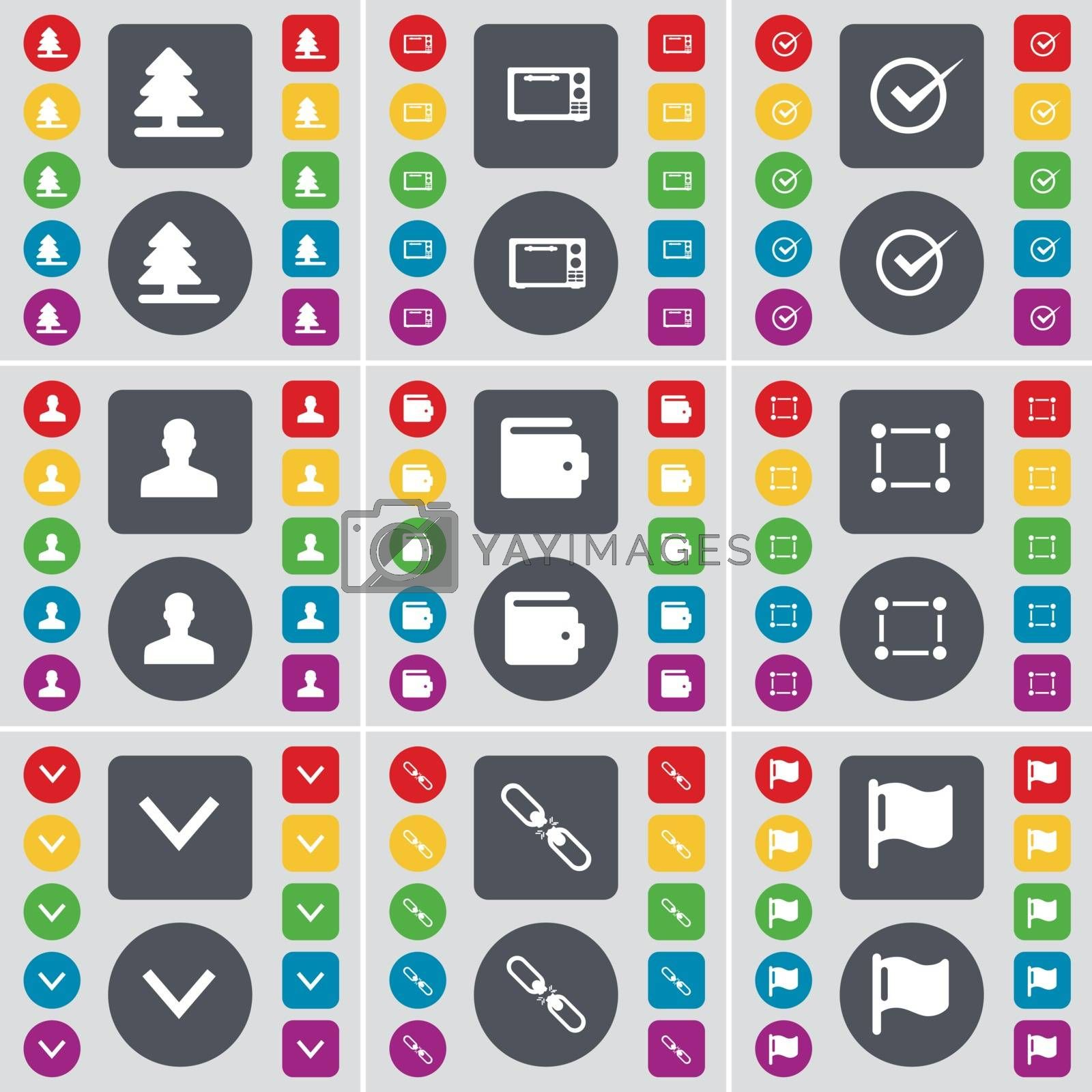 Royalty free image of Firtree, Microwave, Tick, Avatar, Wallet, Frame, Arrow down, Link, Flag icon symbol. A large set of flat, colored buttons for your design. Vector by serhii_lohvyniuk