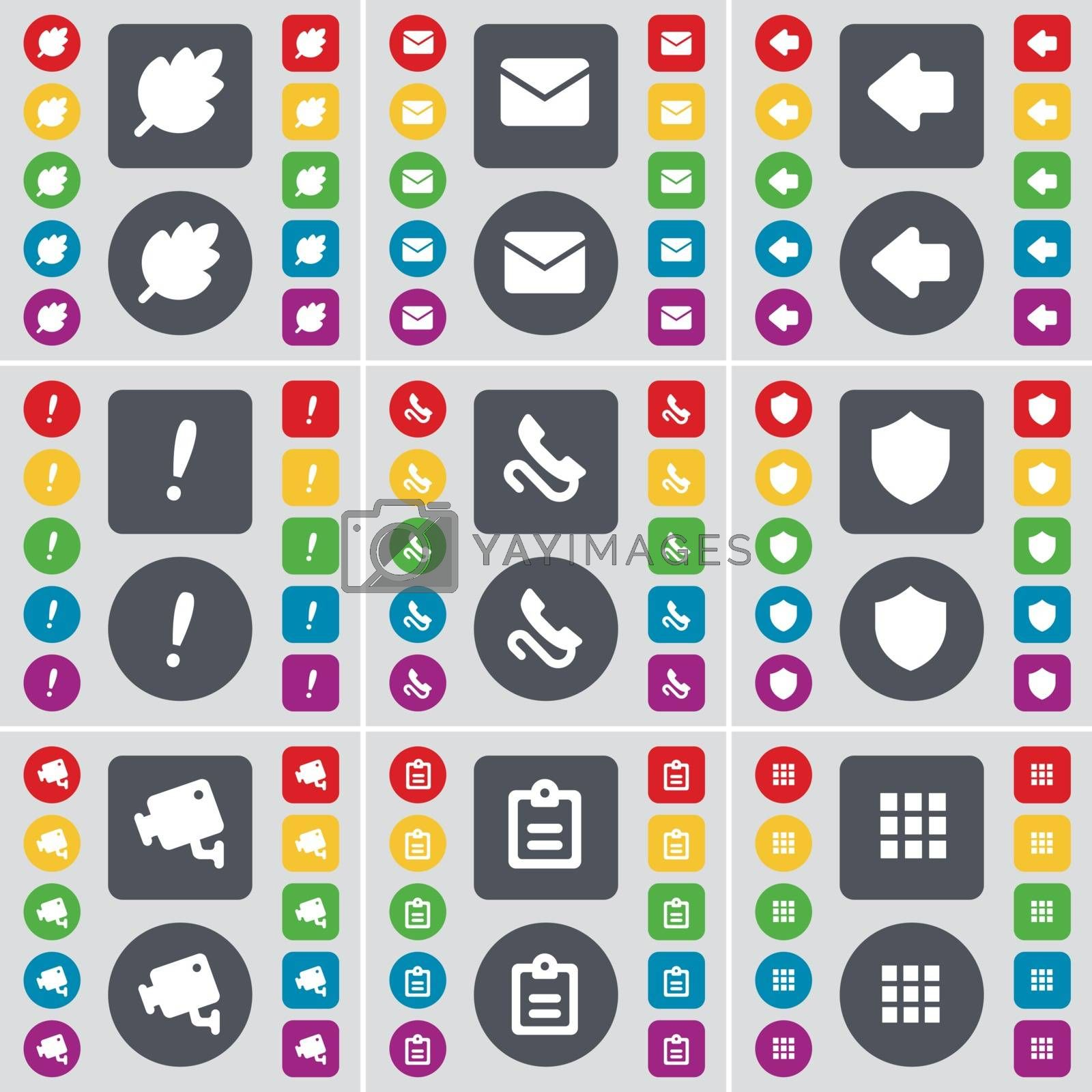 Royalty free image of Leaf, Message, Arrow left, Exclamation mark, Badge, CCTV, Survey, Apps icon symbol. A large set of flat, colored buttons for your design. Vector by serhii_lohvyniuk