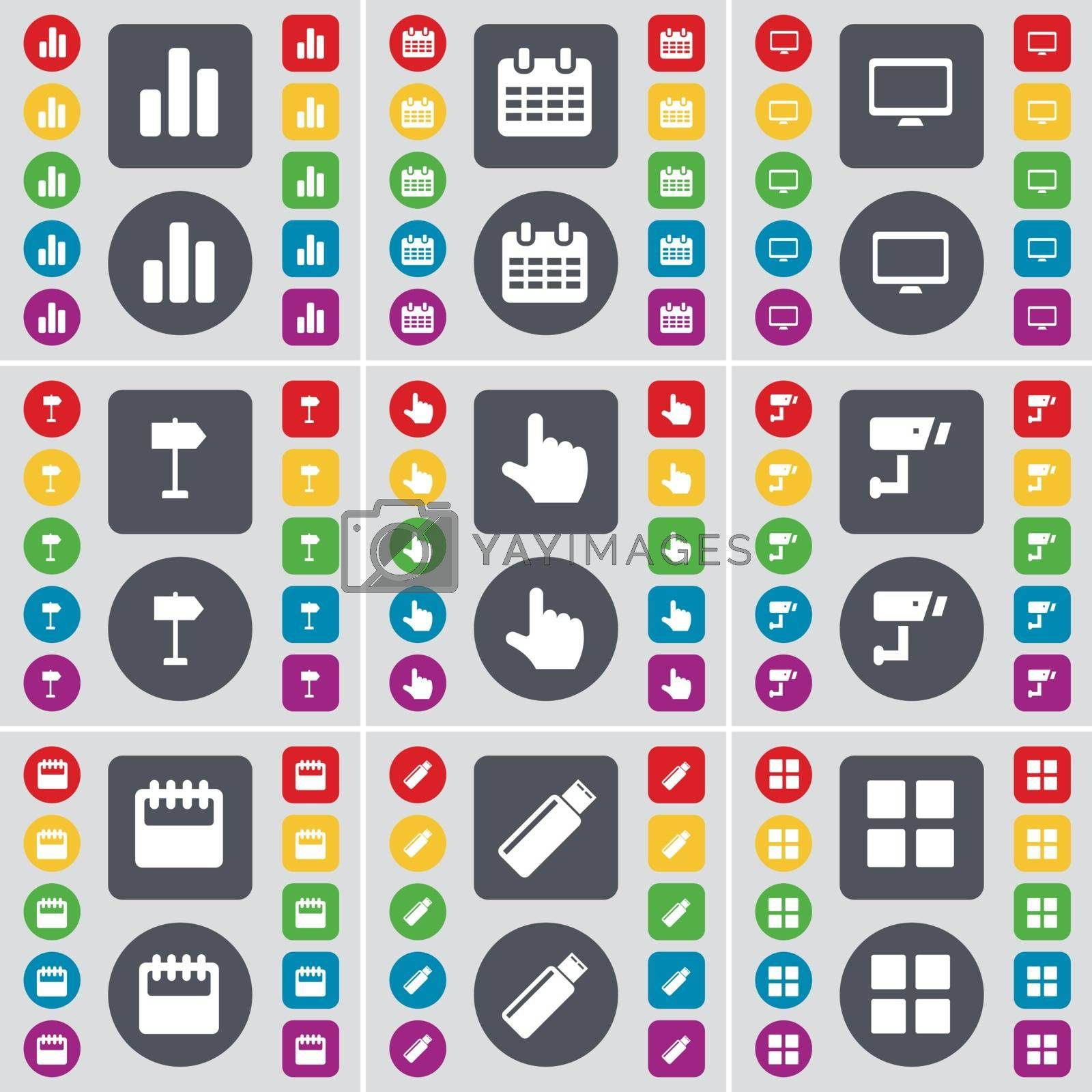 Royalty free image of Diagram, Calendar, Monitor, Signpost, Hand, CCTV, Calendar, USB, Apps icon symbol. A large set of flat, colored buttons for your design. Vector by serhii_lohvyniuk