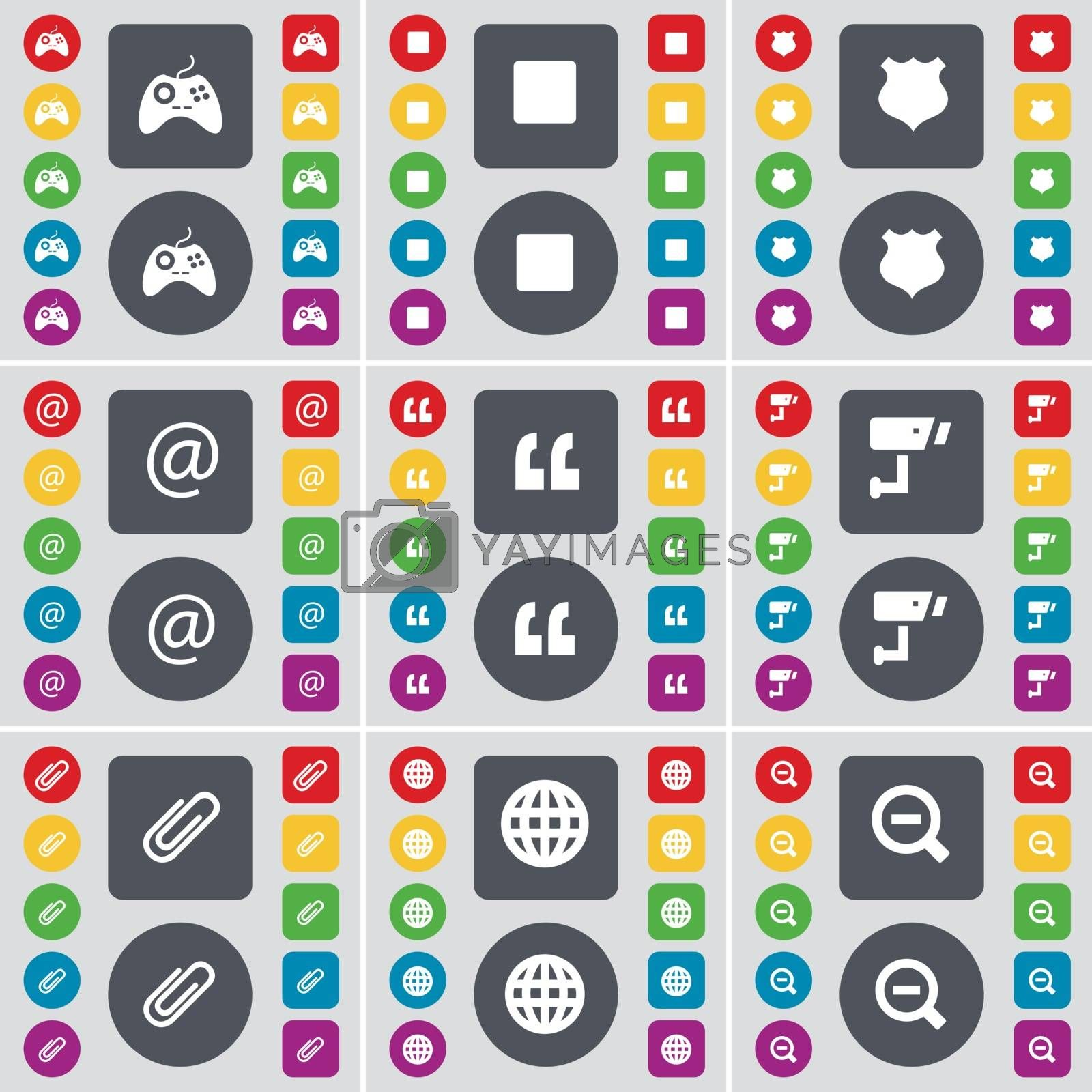 Royalty free image of Gamepad, Media stop, Police badge, Mail, Quotation mark, CCTV, Clip, Globe, Magnifying glass icon symbol. A large set of flat, colored buttons for your design. Vector by serhii_lohvyniuk