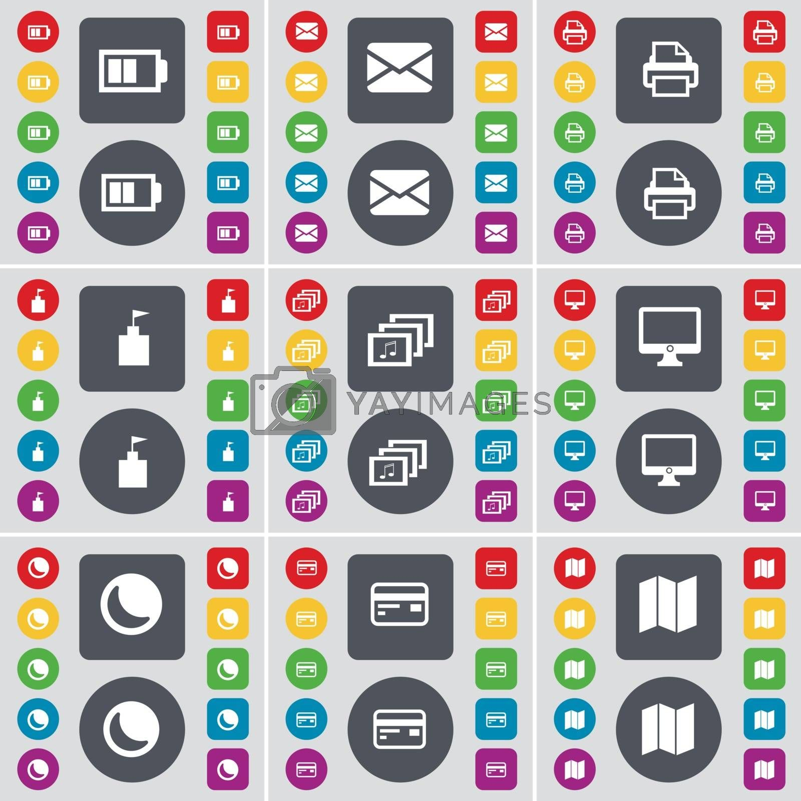 Royalty free image of Battery, Message, Printer, Flag tower, Gallery, Monitor, Moon, Credit card, Map icon symbol. A large set of flat, colored buttons for your design. Vector by serhii_lohvyniuk
