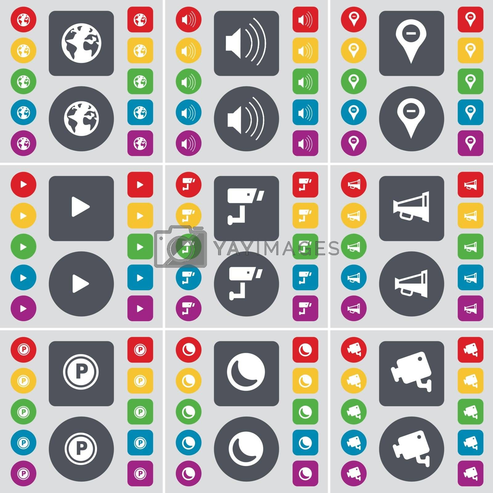 Earth, Sound, Checkpoint, Media play, CCTV, Megaphone, Parking, Moon, CCTV icon symbol. A large set of flat, colored buttons for your design. Vector by serhii_lohvyniuk
